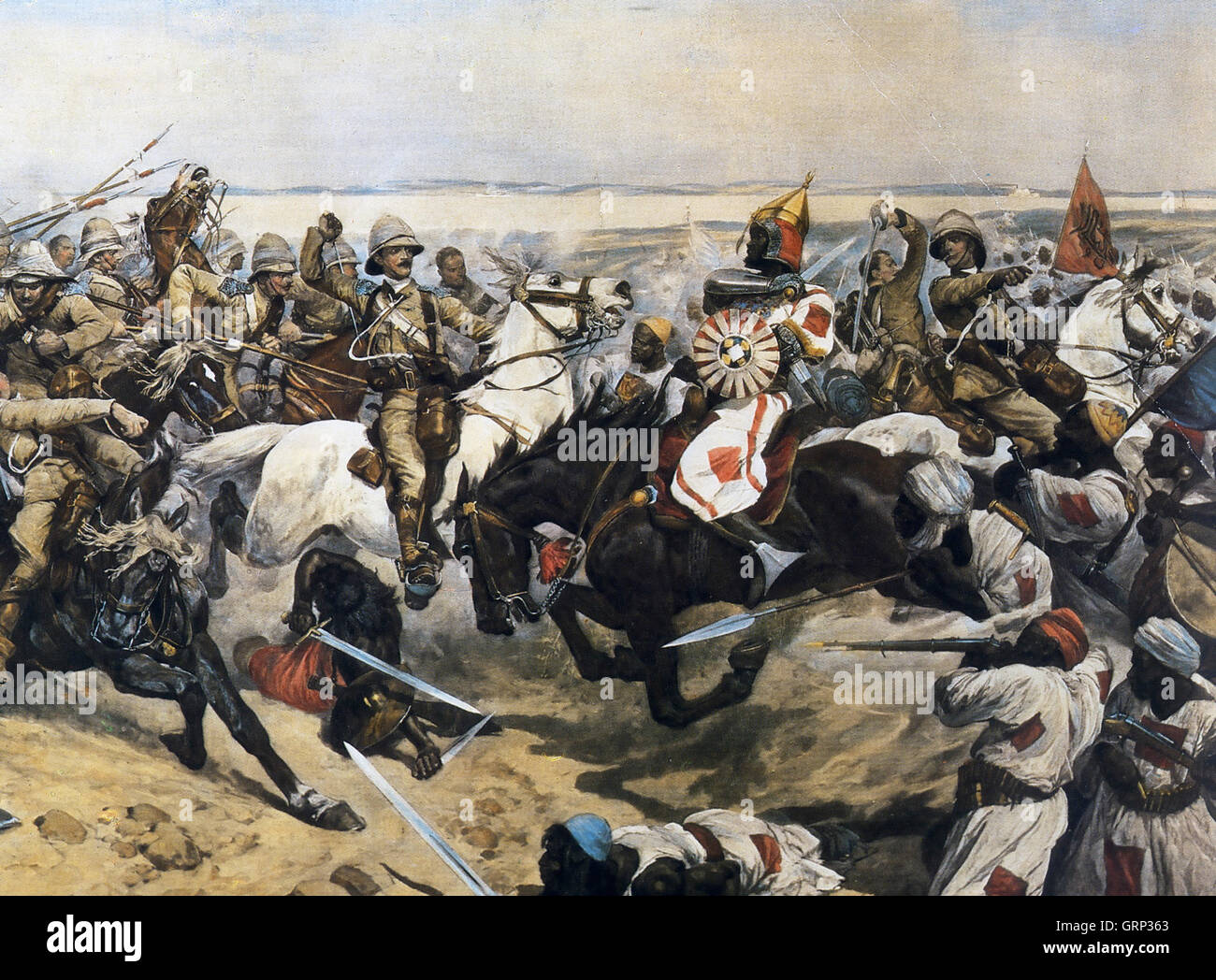 BATTLE OF OMDURMAN 2 September 1898. The charge of the 21 Lancers - in which Winston Churchill took part - painted - Stock Image