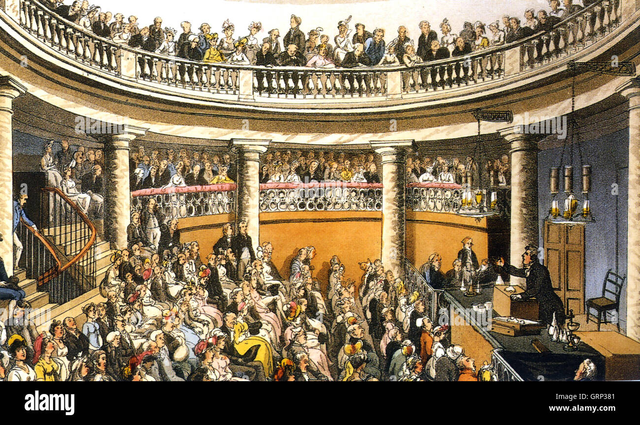 THE SURREY INSTITUTION (1807-1823) A meeting in the Lecture Hall  the Rotunda Building in Southwark as illustrated - Stock Image