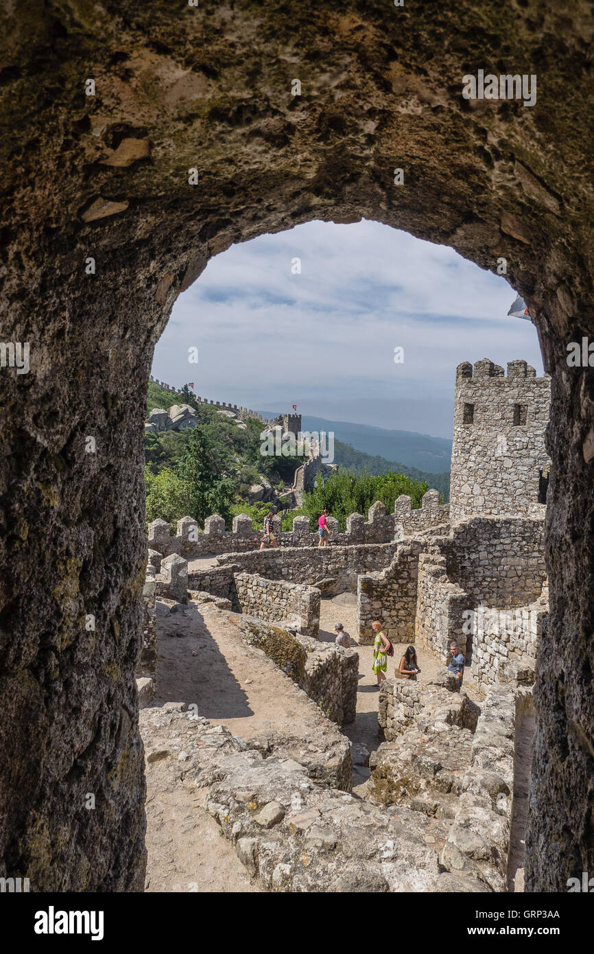 The Castle of the Moors (Portuguese: Castelo dos Mouros) is a hilltop medieval castle located in the central Portuguese - Stock Image
