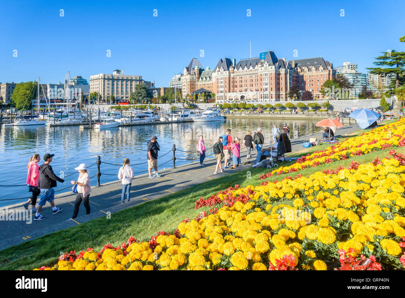 The Inner Harbour and Empress Hotel, Victoria, British Columbia, Canada - Stock Image