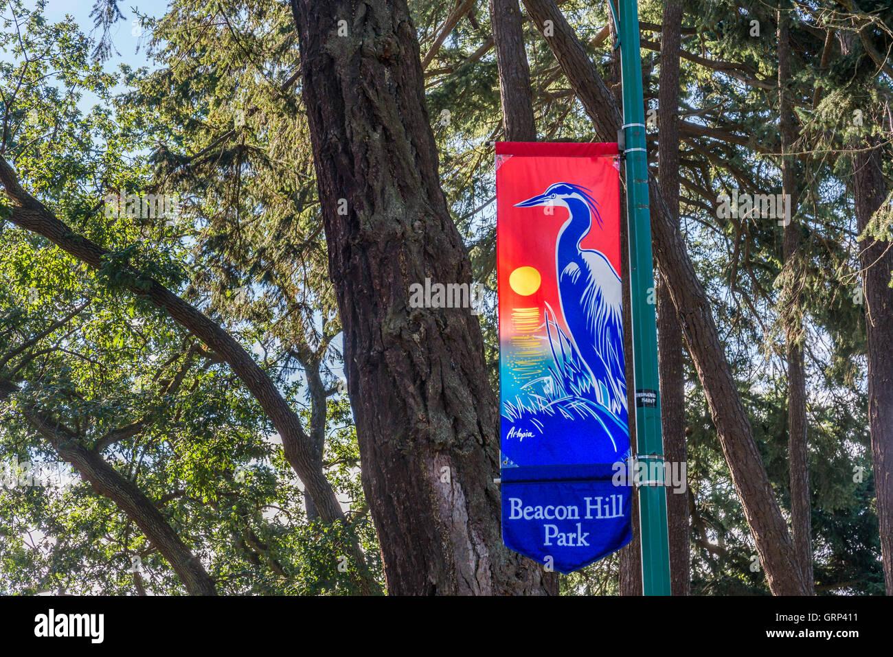 Beacon Hill Park banner, Victoria, British Columbia, Canada - Stock Image