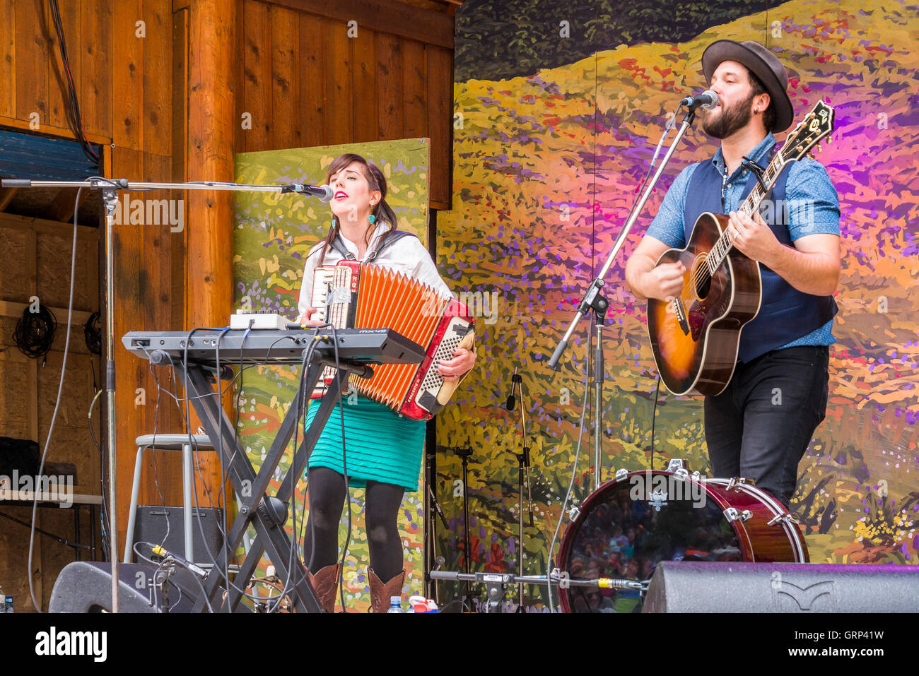 Newfoundland duo the Fortunate Ones perform at Canmore Folk Music Festival, Canmore, Alberta, Canada - Stock Image