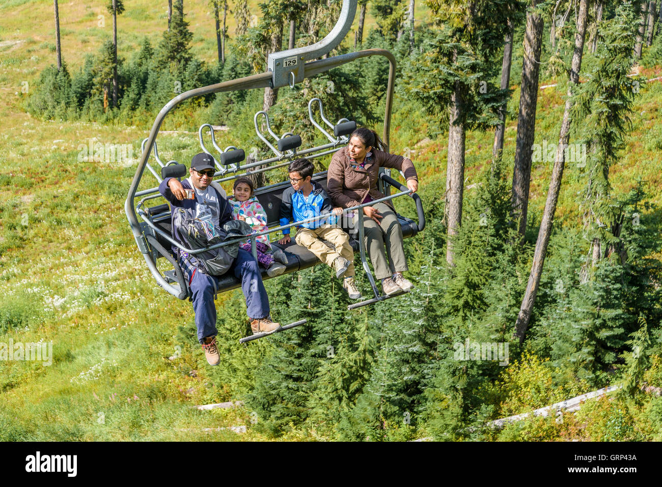 Chairlift, Whistler Blackcomb Mountain Resort, Whistler, British Columbia, Canada. - Stock Image