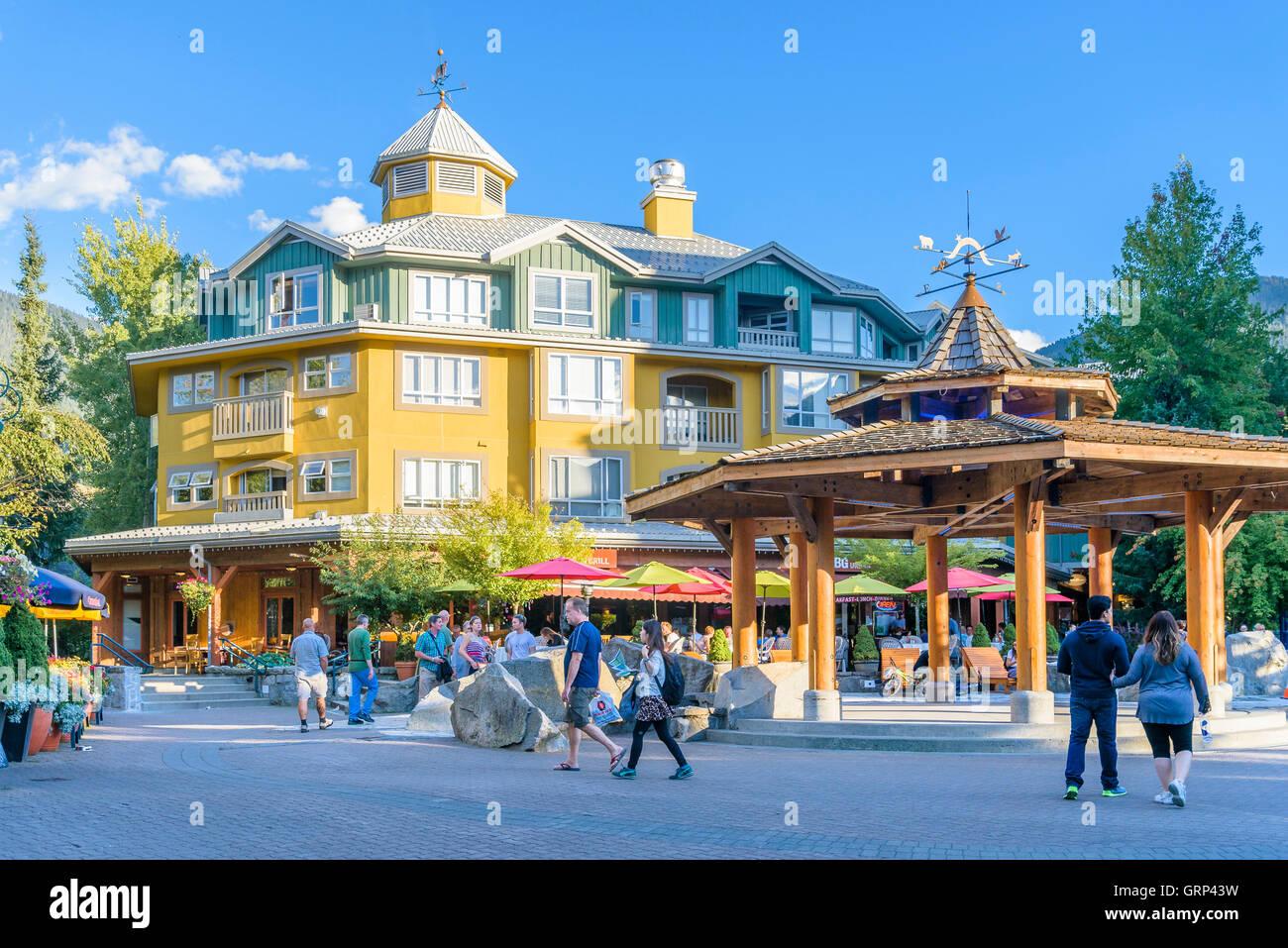 Town Plaza, Whistler Village, Whistler, British Columbia, Canada. - Stock Image