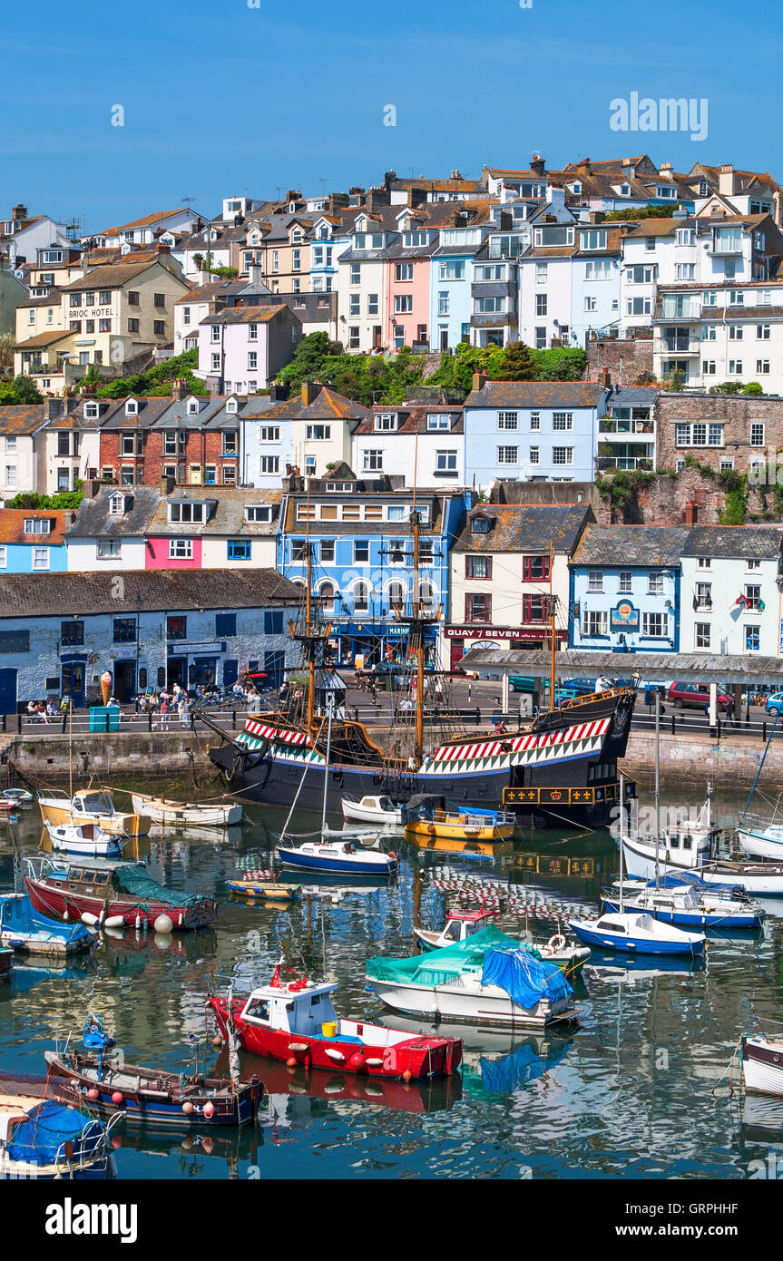 Boats in the harbour at Brixham, Devon, England, UK Stock Photo