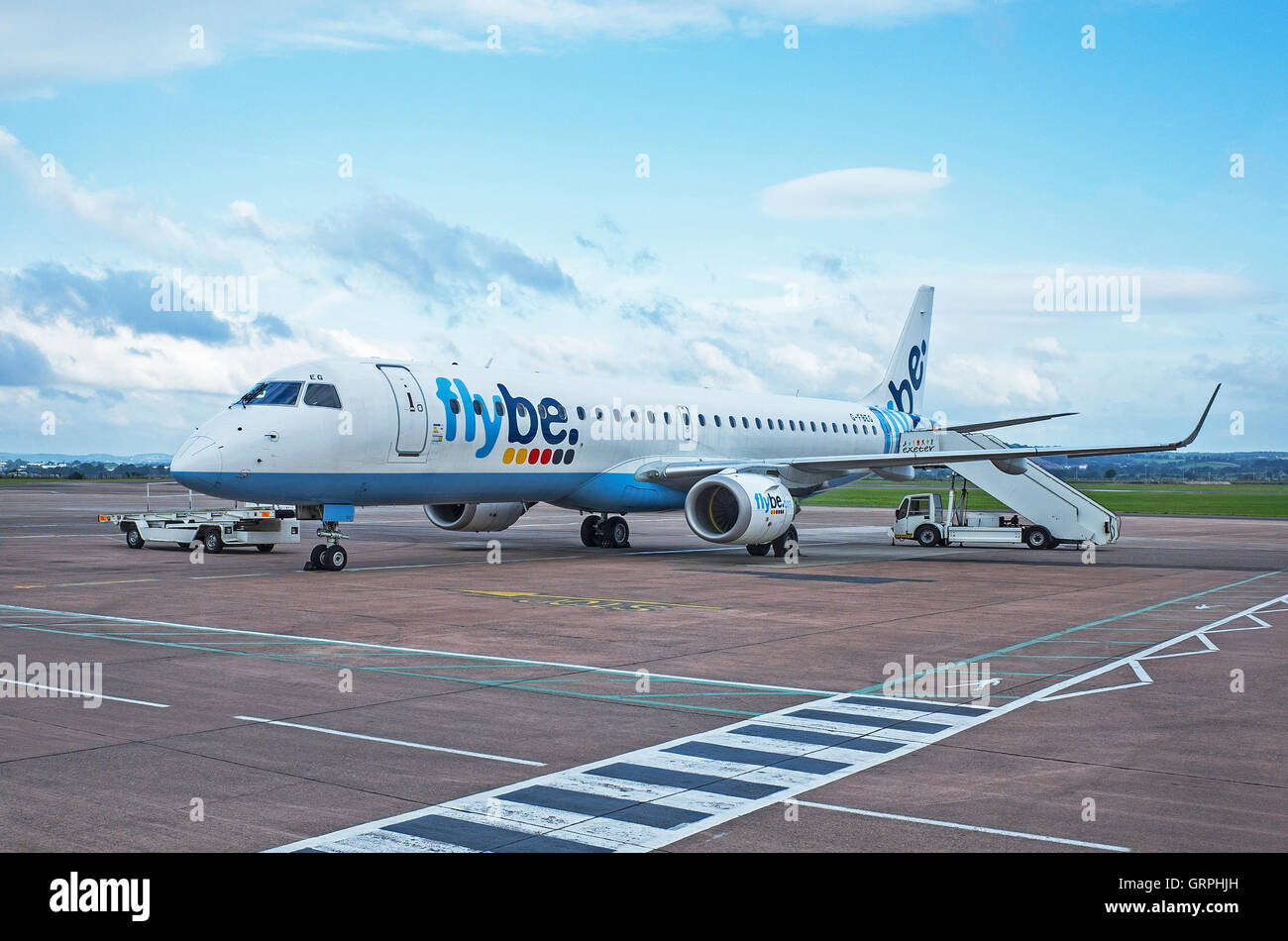 A Flybe aircraft on the tarmac at Exeter airport, Devon, England, Uk - Stock Image
