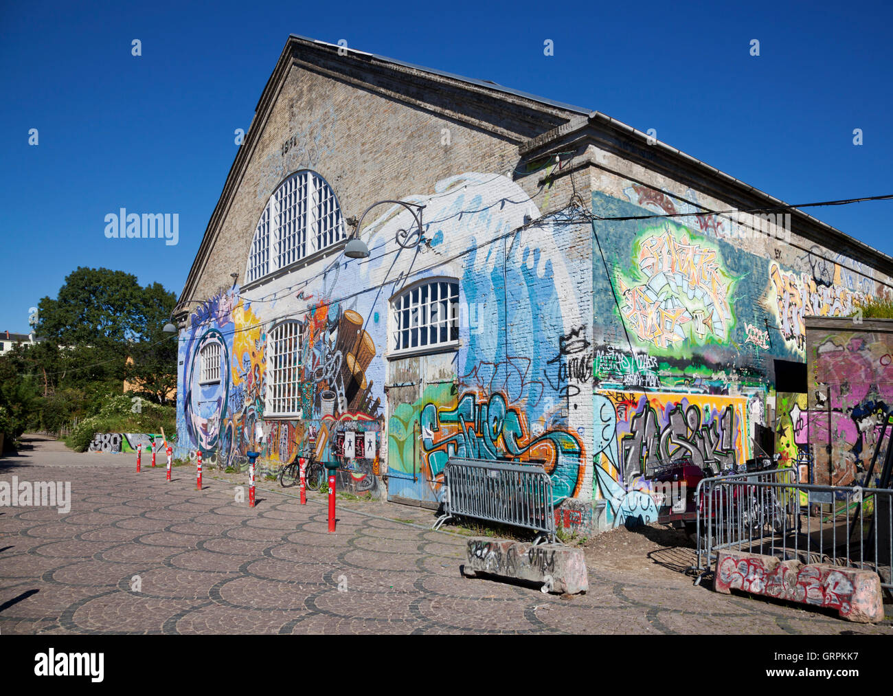 Den grå hal, the Grey Hall, in freetown Christiania, Copenhagen - Stock Image