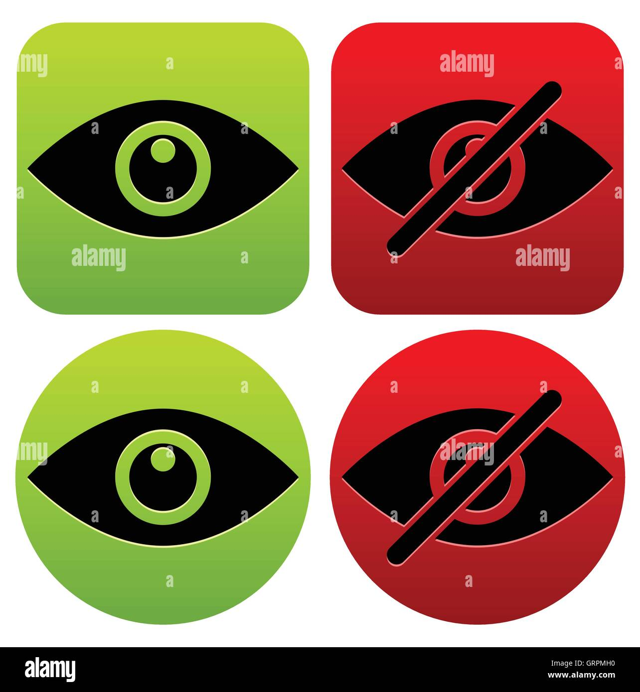 Eye Symbols As Show Hide Visible Invisible Public Private Icons