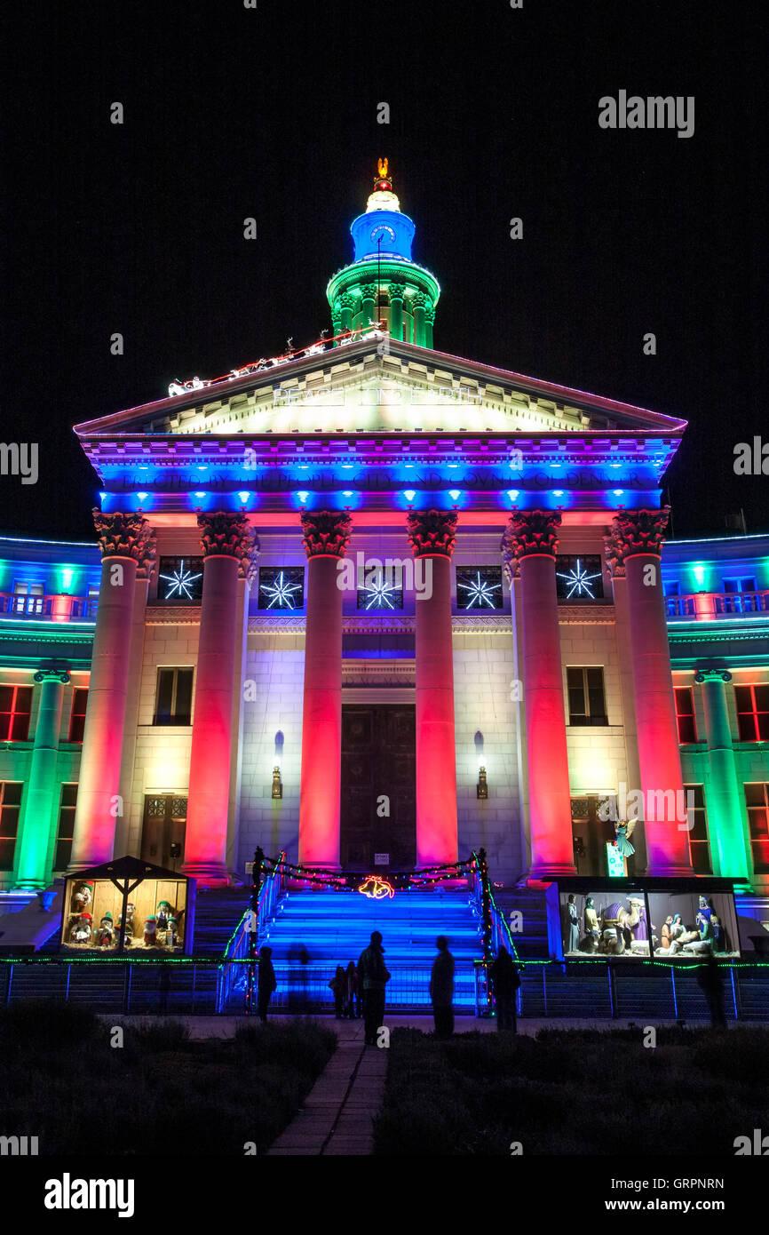 City U0026 County Building Decorated With Christmas Lights, Denver, Colorado USA