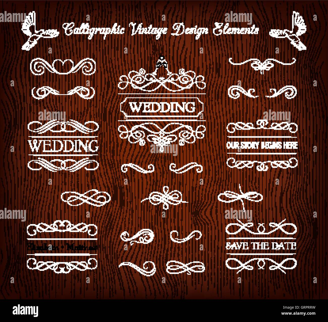 Vintage wedding elements and page decoration. Ornate frames and scroll element. Isolated on red wooden background - Stock Image