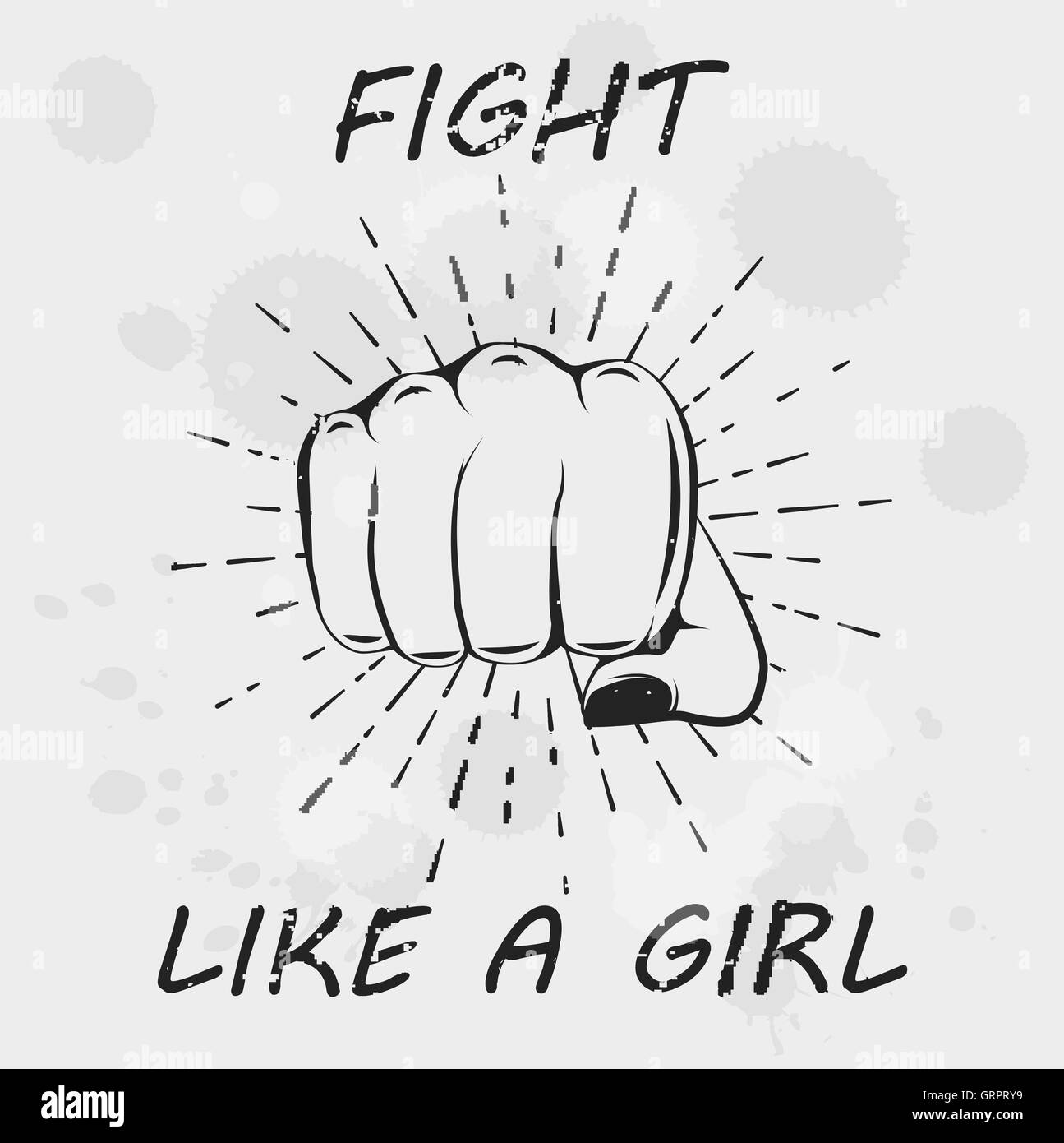 fight like a girl female fist woman hand motivation poster feminism print