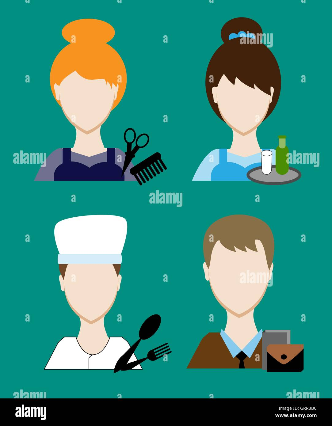 Profession people cook, hairdresser, teacher, waiter a businessman, secretary. Face men uniform. Avatars in flat - Stock Vector