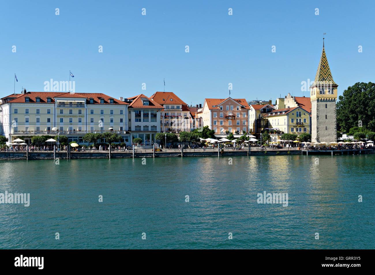 Old lighthouse, Mangenturm, port, Lake Constance, Lindau, Swabia, Bavaria, Germany, Europe Stock Photo