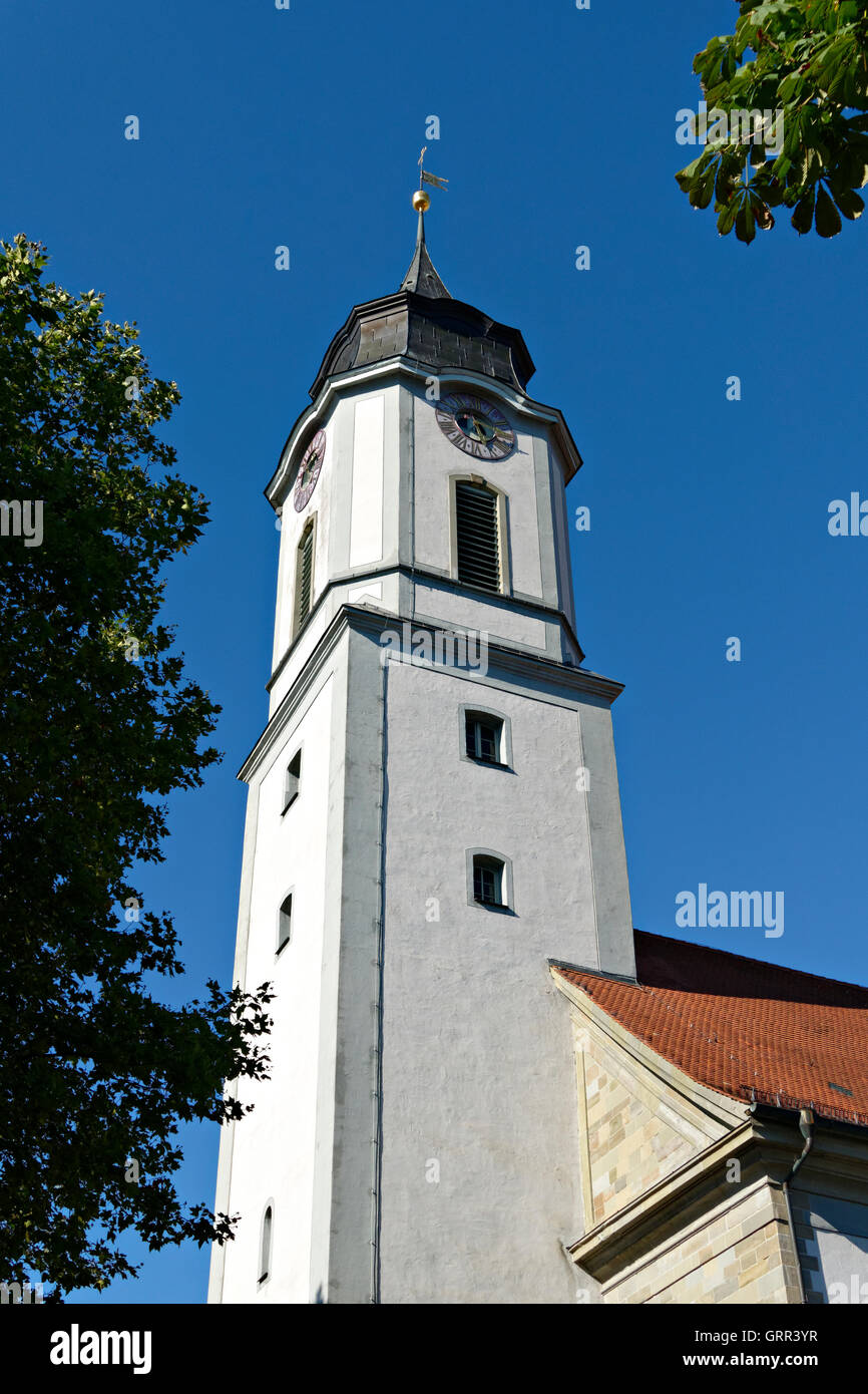 Notre-Dame Cathedral clock bell tower,  Protestant church of St. Stephen on the island of  Lindau, Swabia, Bavaria, Germany Stock Photo