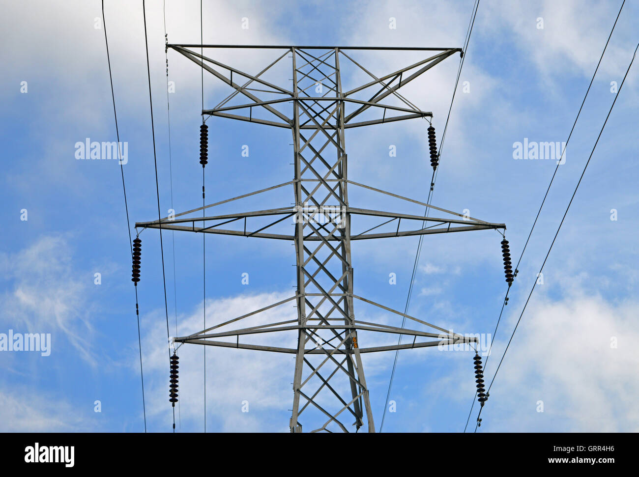A tower for high tension power lines in Milford, Ohio, US on June 3, 2016 - Stock Image