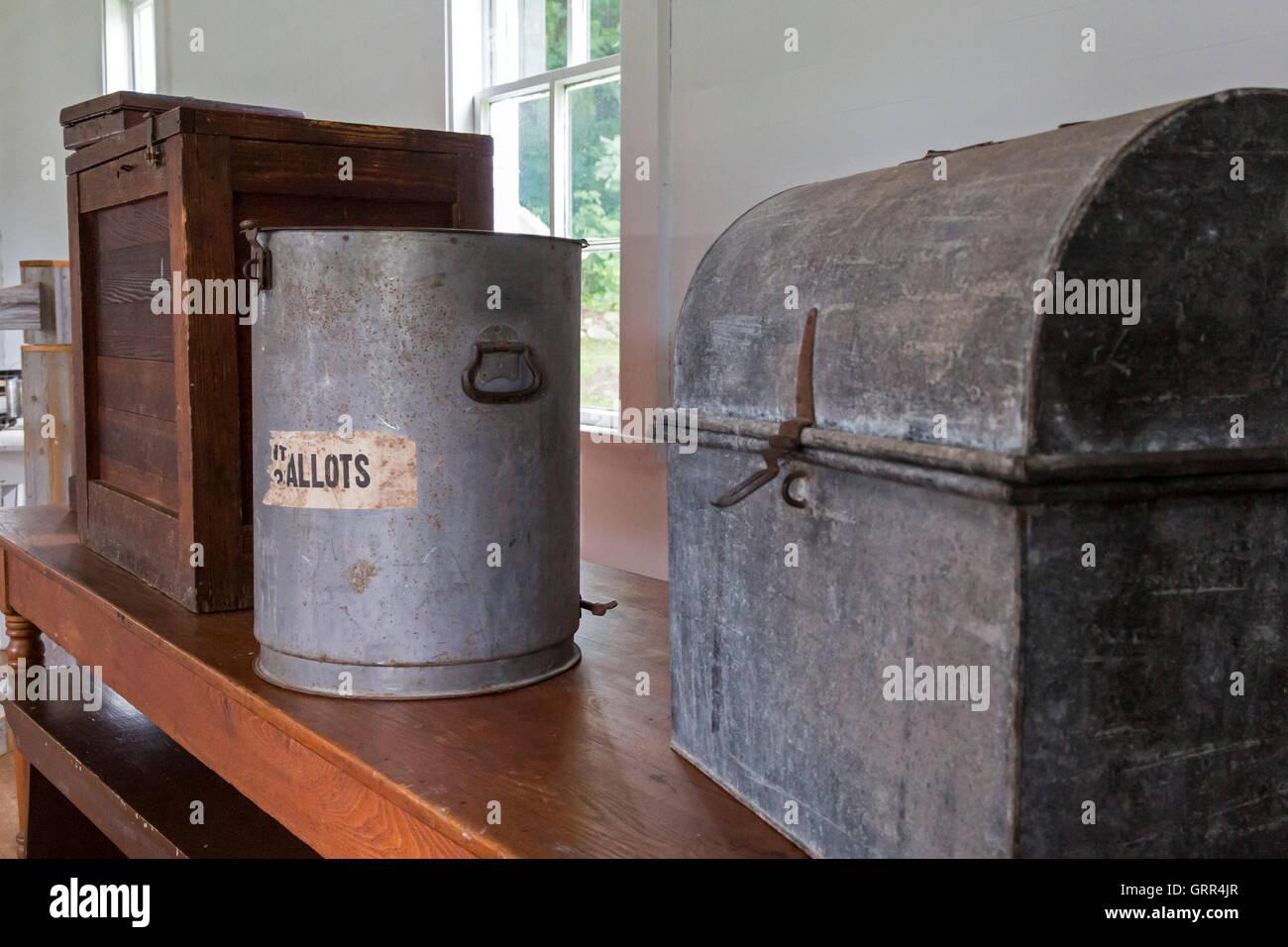 Hastings, Michigan - Ballot boxes at Hastings Township Hall at historic Charlton Park village. - Stock Image