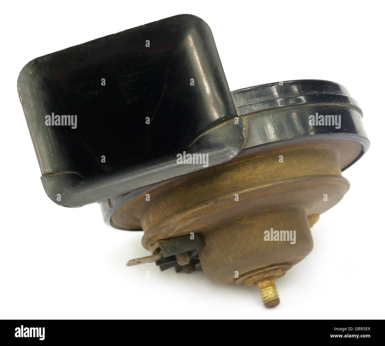 Vehicle horn over white background - Stock Image