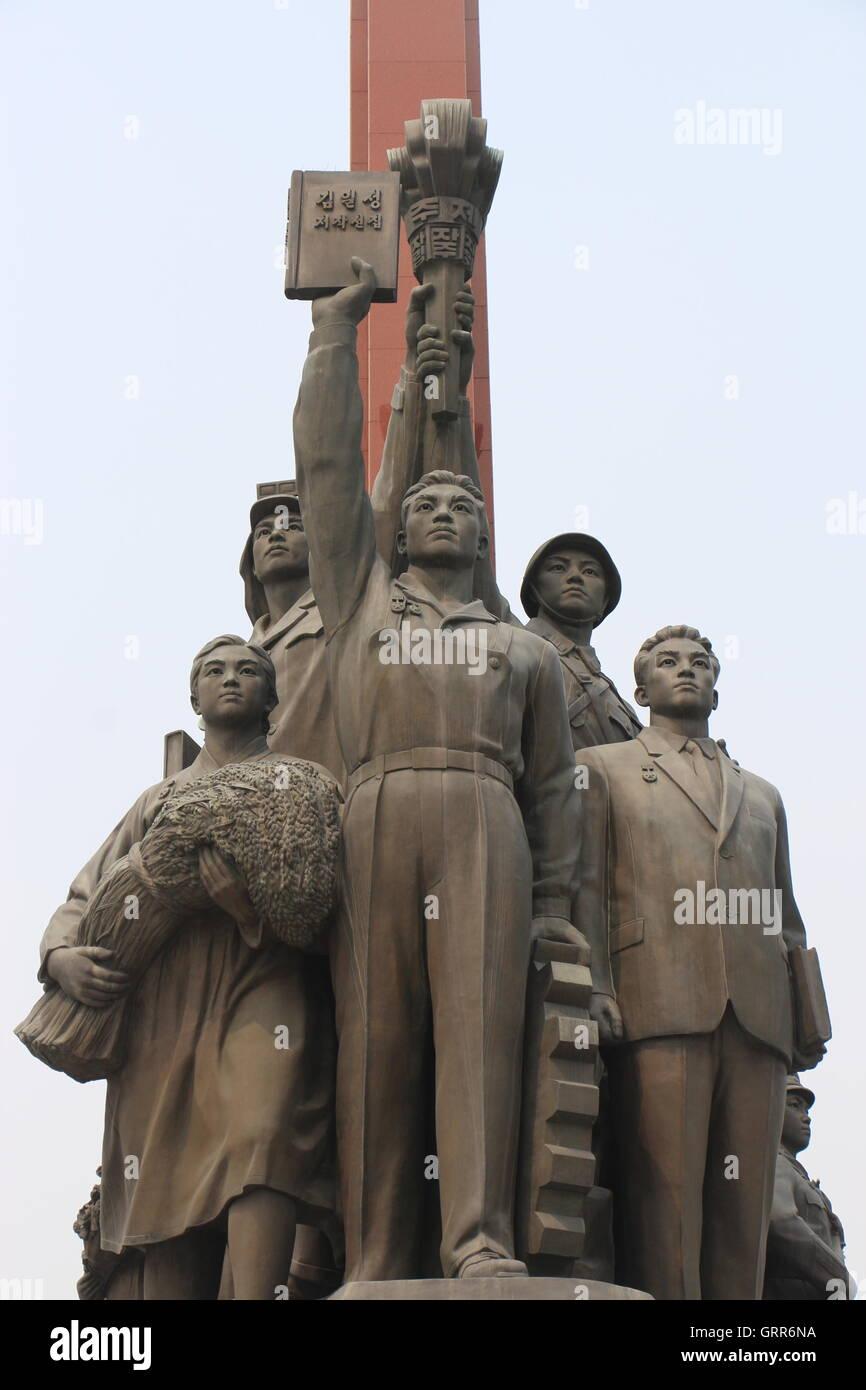 Grand Monument Of Mansu Hill, Pyongyang, North Korea - Stock Image