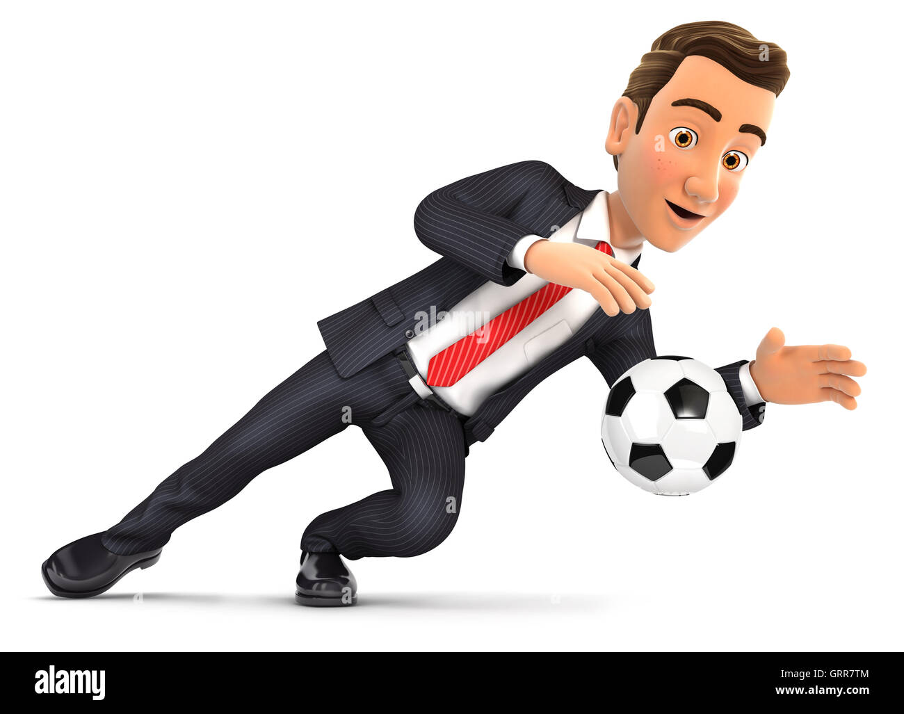 3d businessman stopping soccer ball, illustration with isolated white background Stock Photo