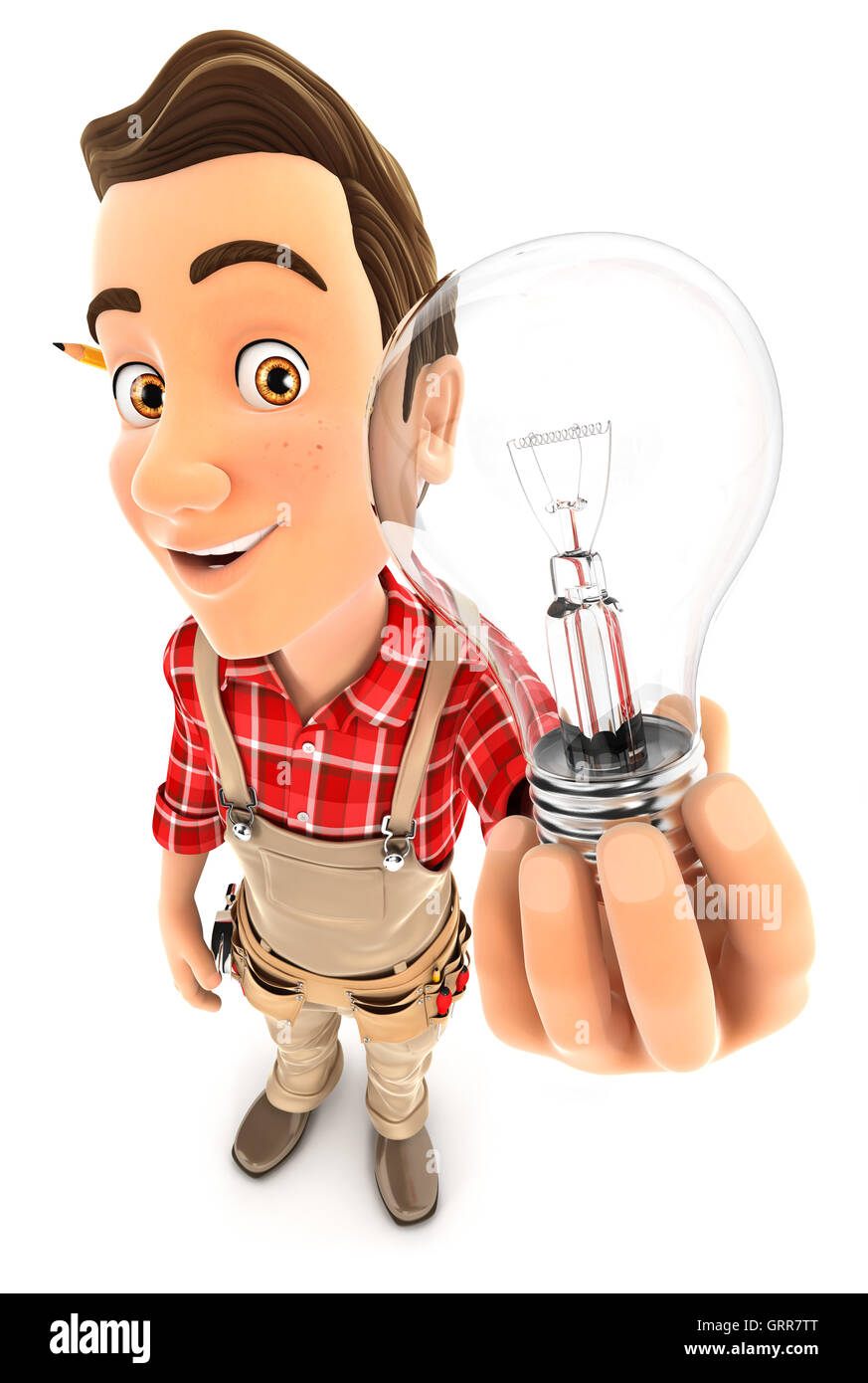 3d handyman holding a light bulb, illustration with isolated white background Stock Photo