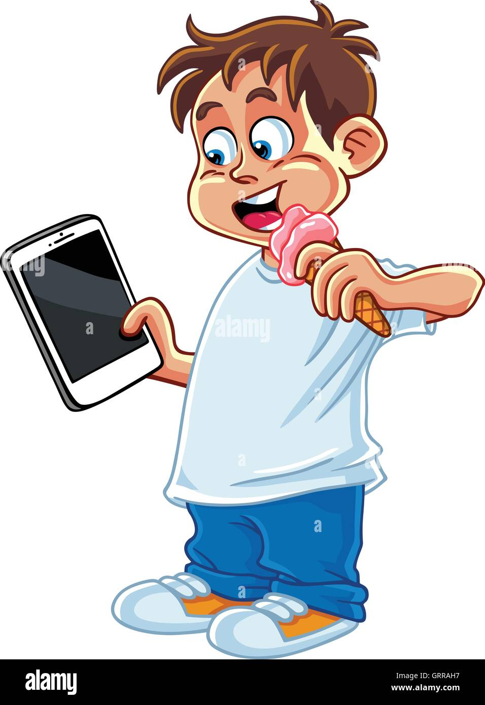 Kid Playing Tablet Phone Gadget Cartoon Vector - Stock Image