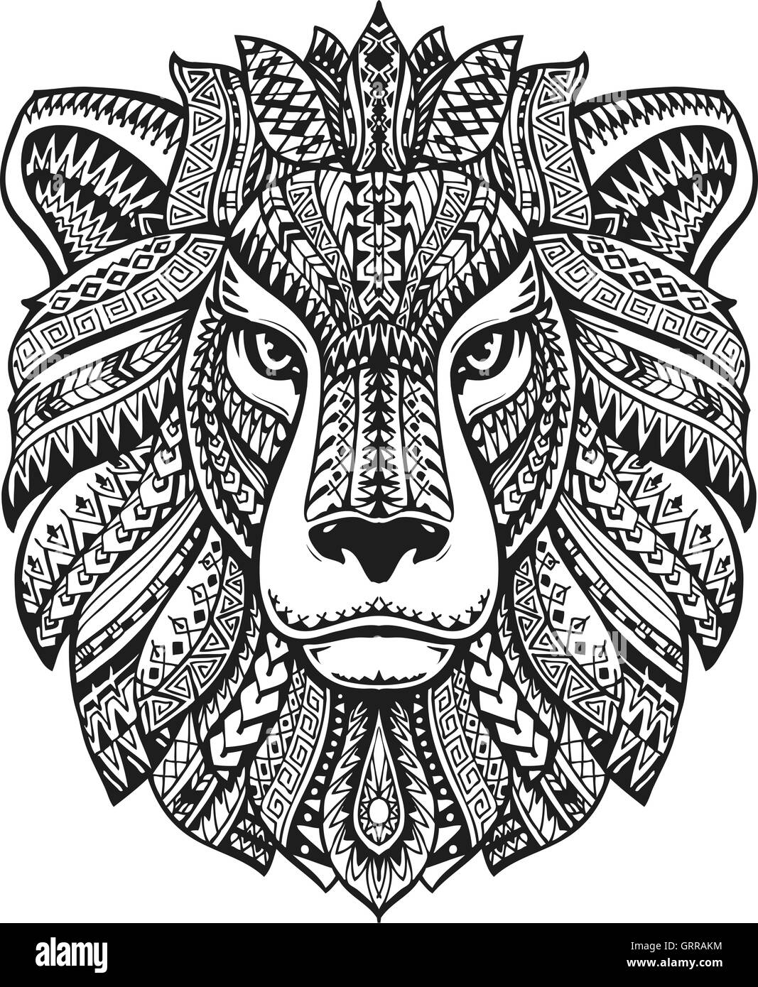 Head Lion Ethnic Patterns Hand Drawn Vector Illustration