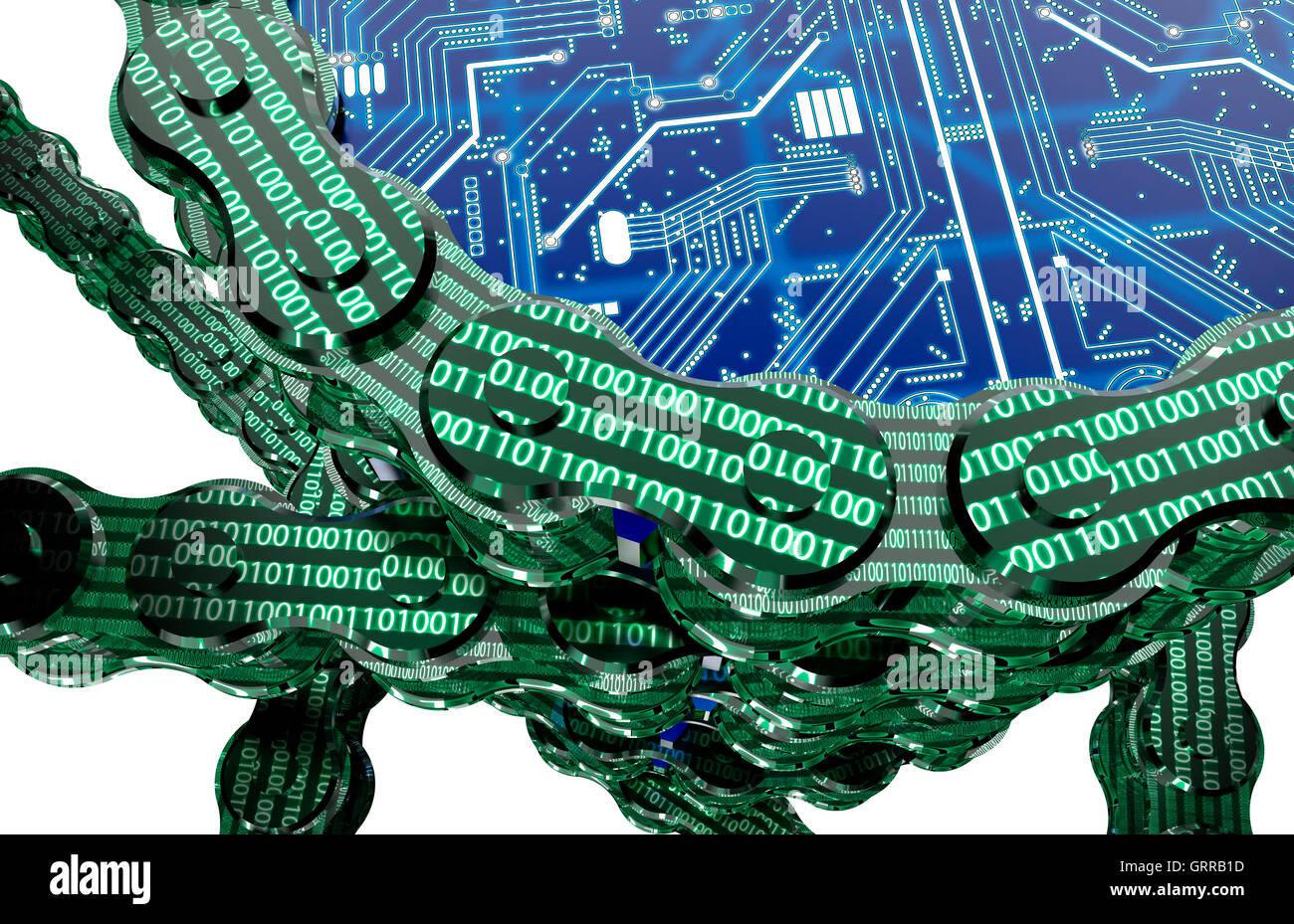 digital computer blockchain isolated on white, 3d illustration - Stock Image