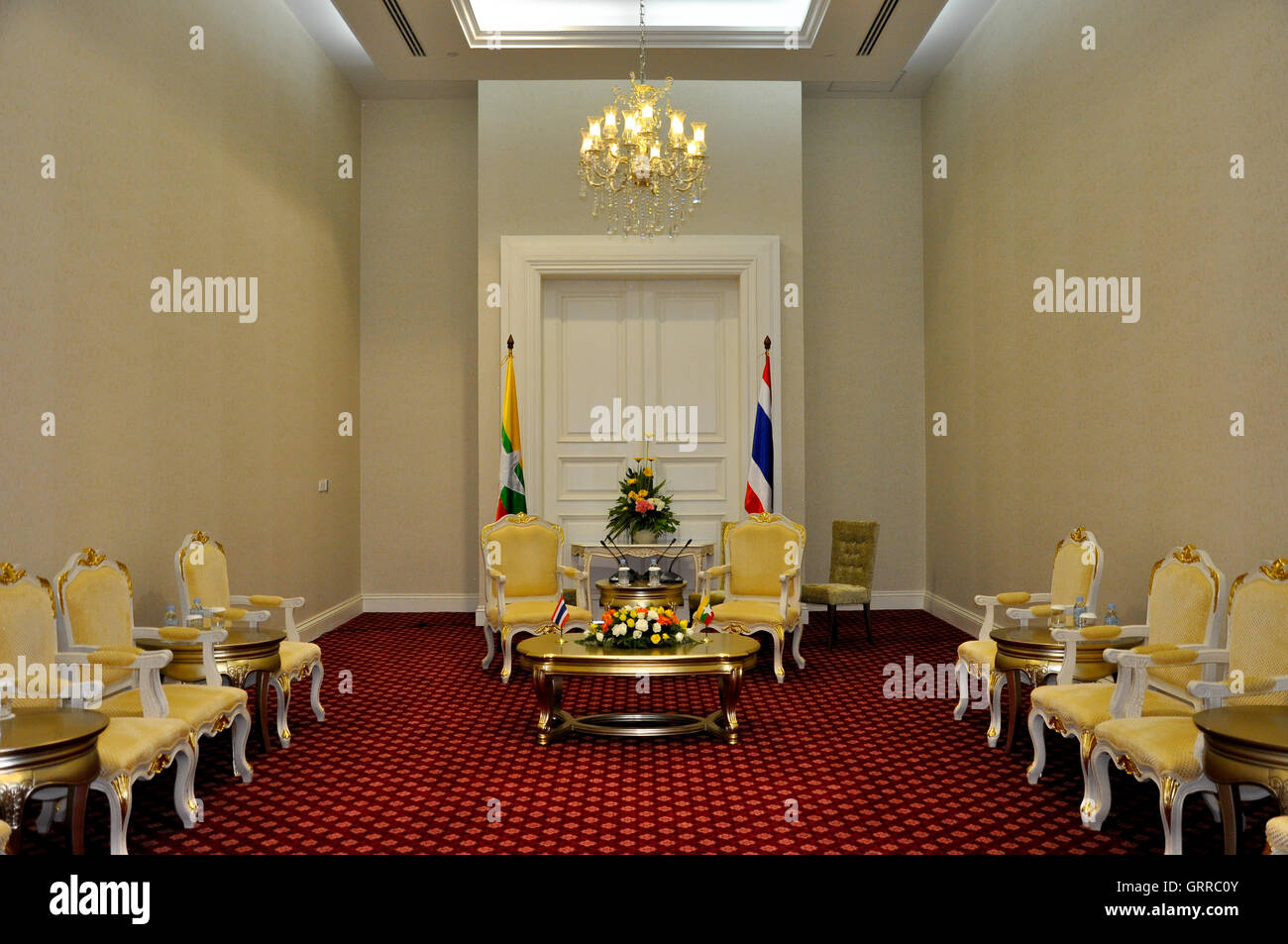Phnom Penh, Cambodia - 19 November 2012. The bilateral meeting room setup for Prime minister of Myanmar and Thailand. - Stock Image