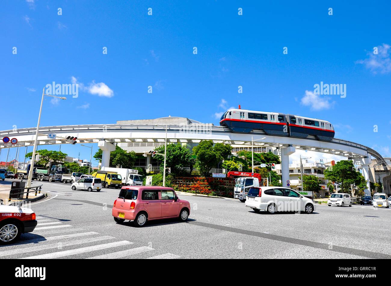 Okinawa Monorail (Yui-Rail) is an only rail transport in Naha City, Okinawa, Japan. Taken in Shuri area, July 22, - Stock Image
