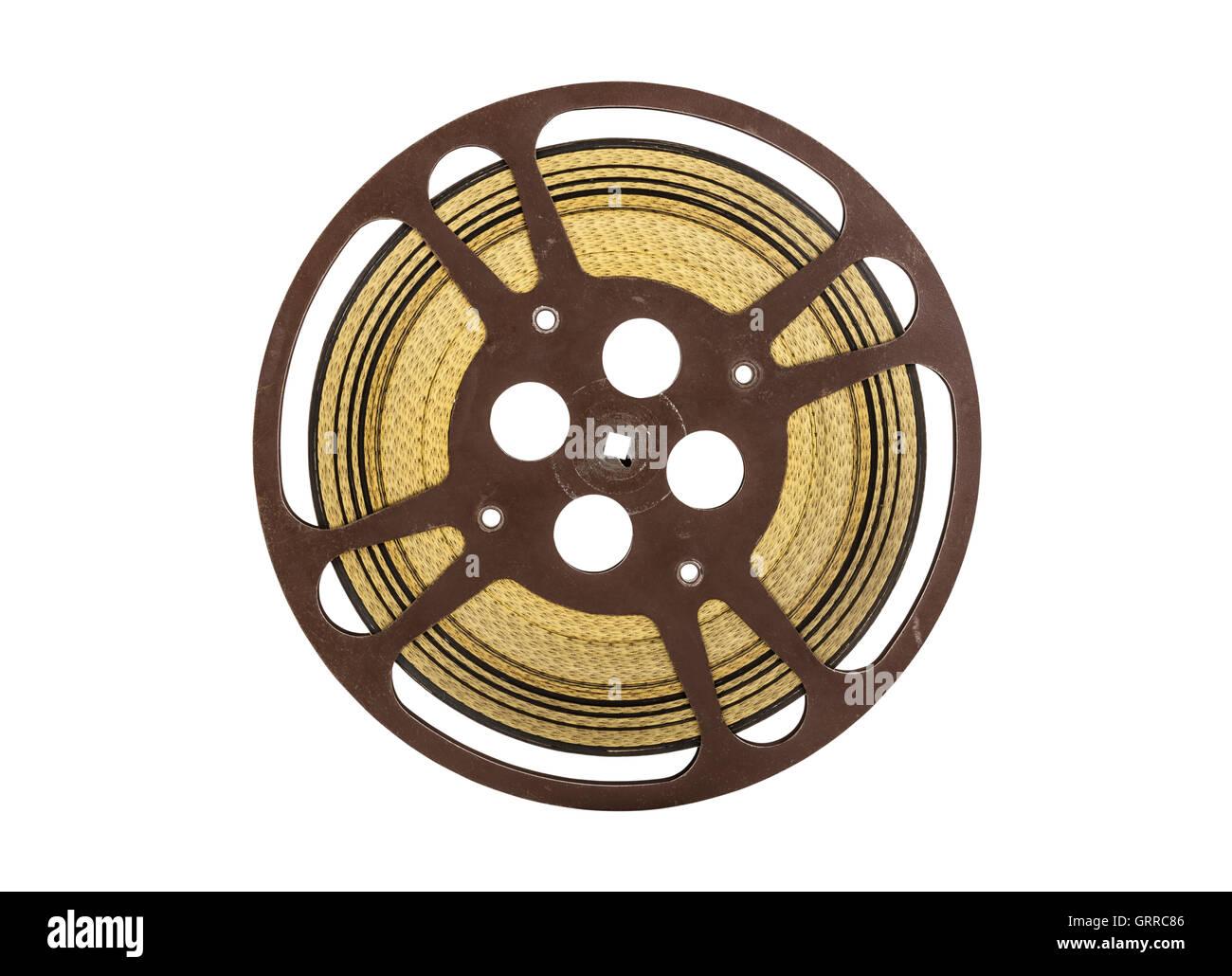 Vintage 16 mm movie film reel isolated on white. - Stock Image