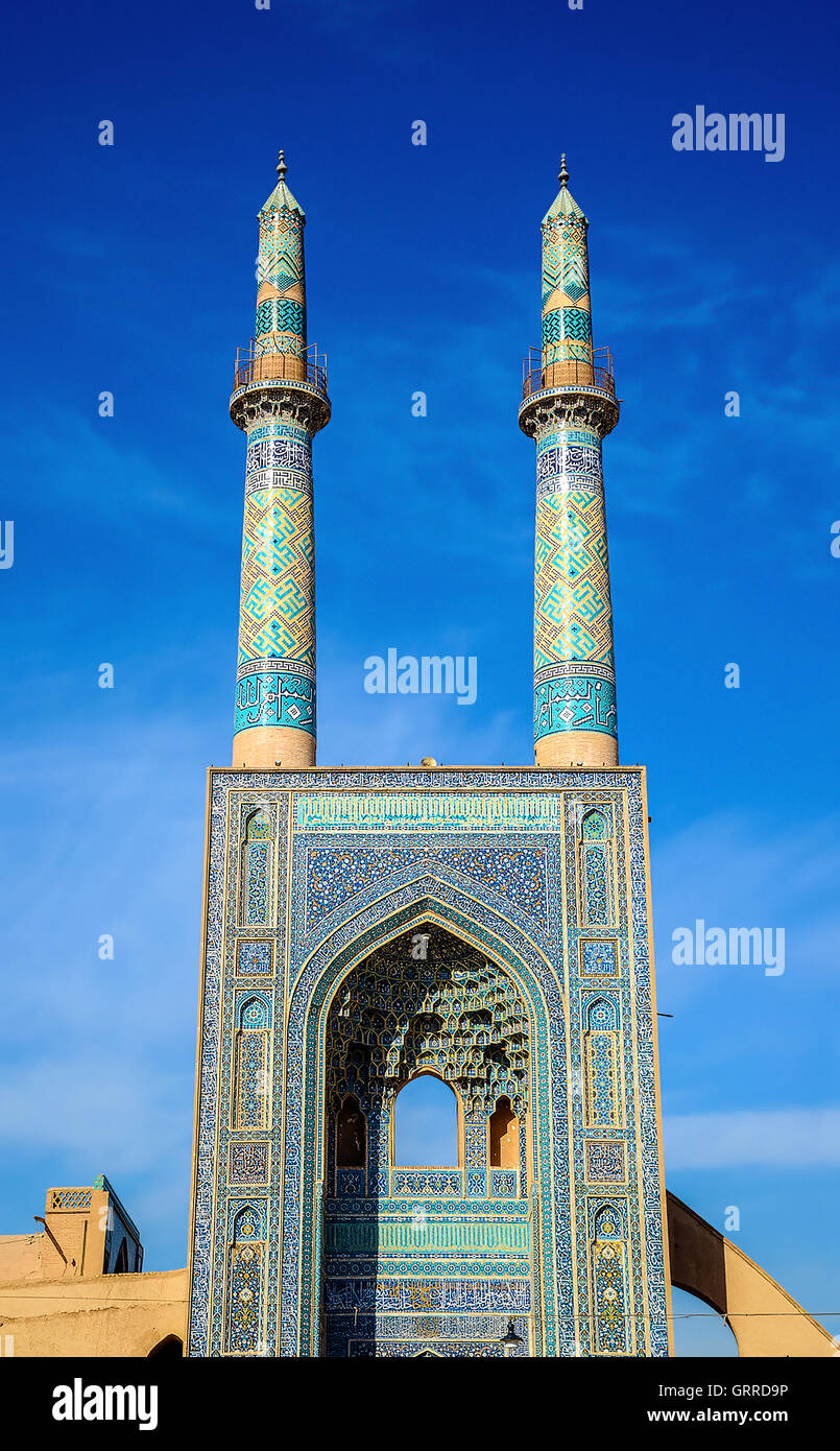 Jame Mosque of Yazd in Iran. - Stock Image