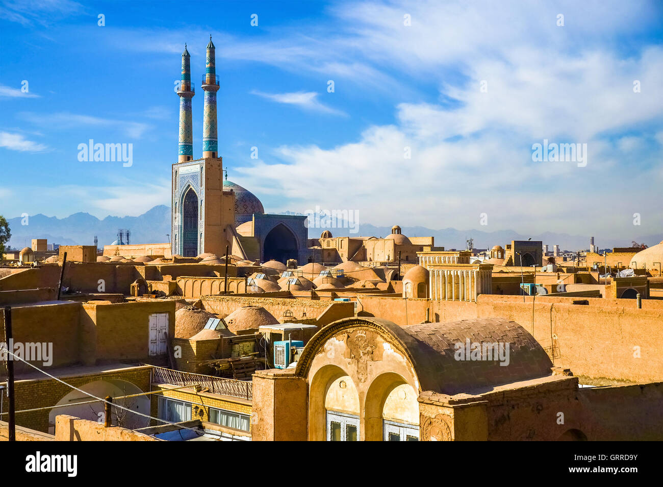 View of the historic centre of Yazd Stock Photo