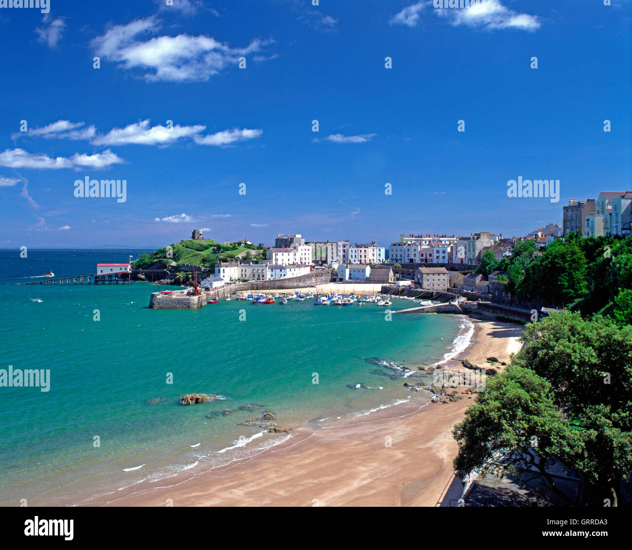 Tenby harbour and town, Pembrokeshire, Wales, UK - Stock Image