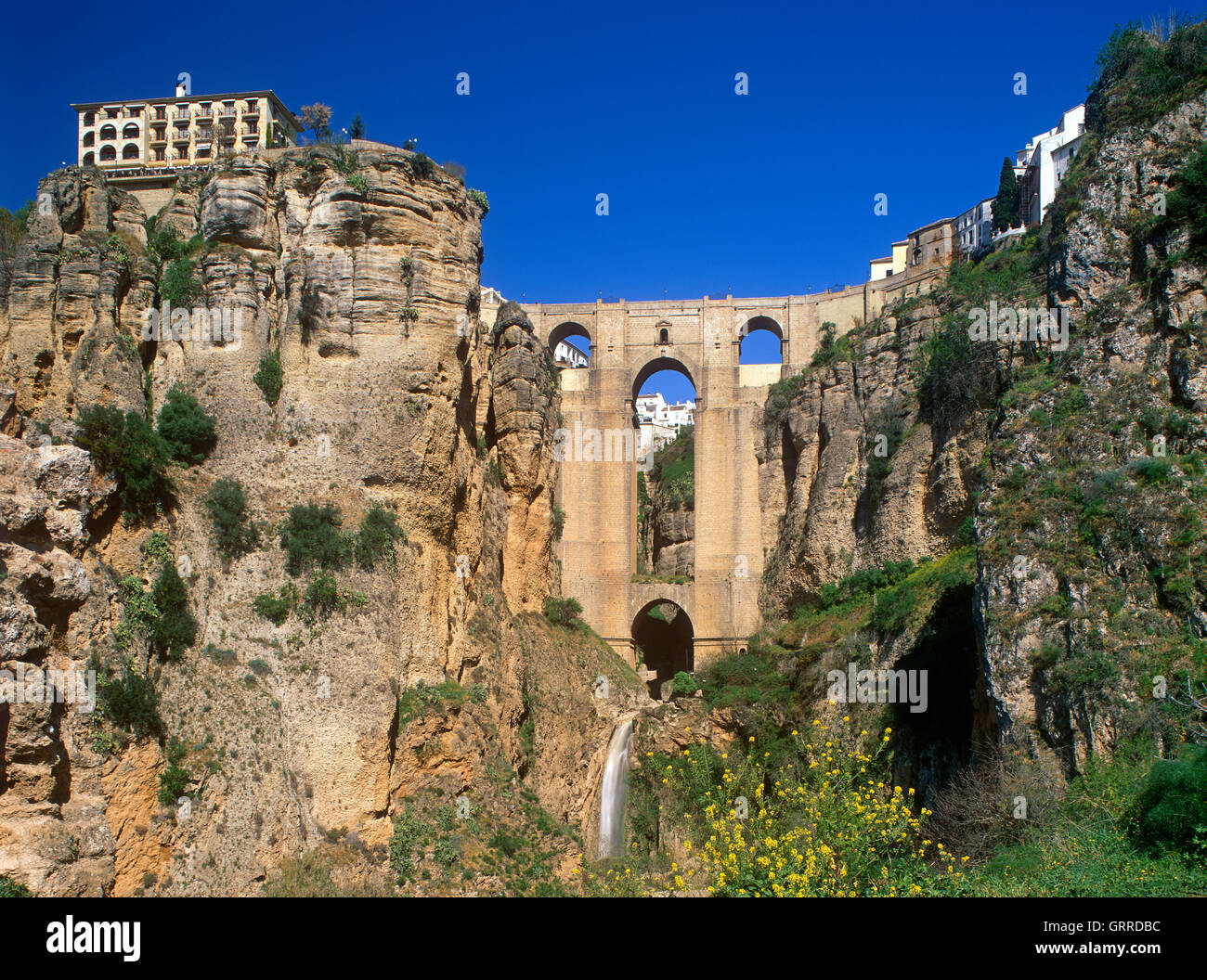 Puente Nuevo and El Tajo Gorge, Ronda, Andalucia, Spain - Stock Image