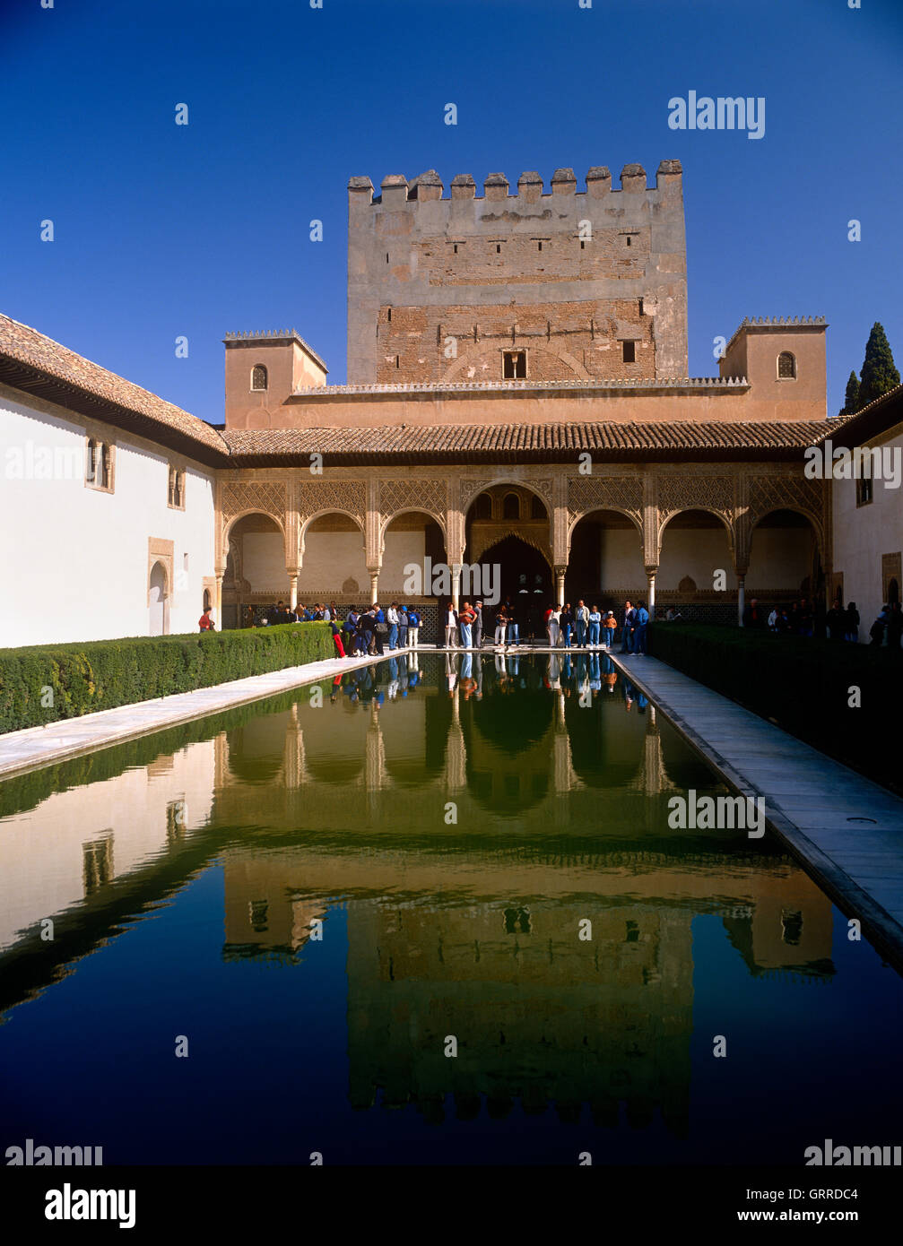 Court of the Myrtles, Alhambra Palace, Granada, Andalucia, Spain - Stock Image
