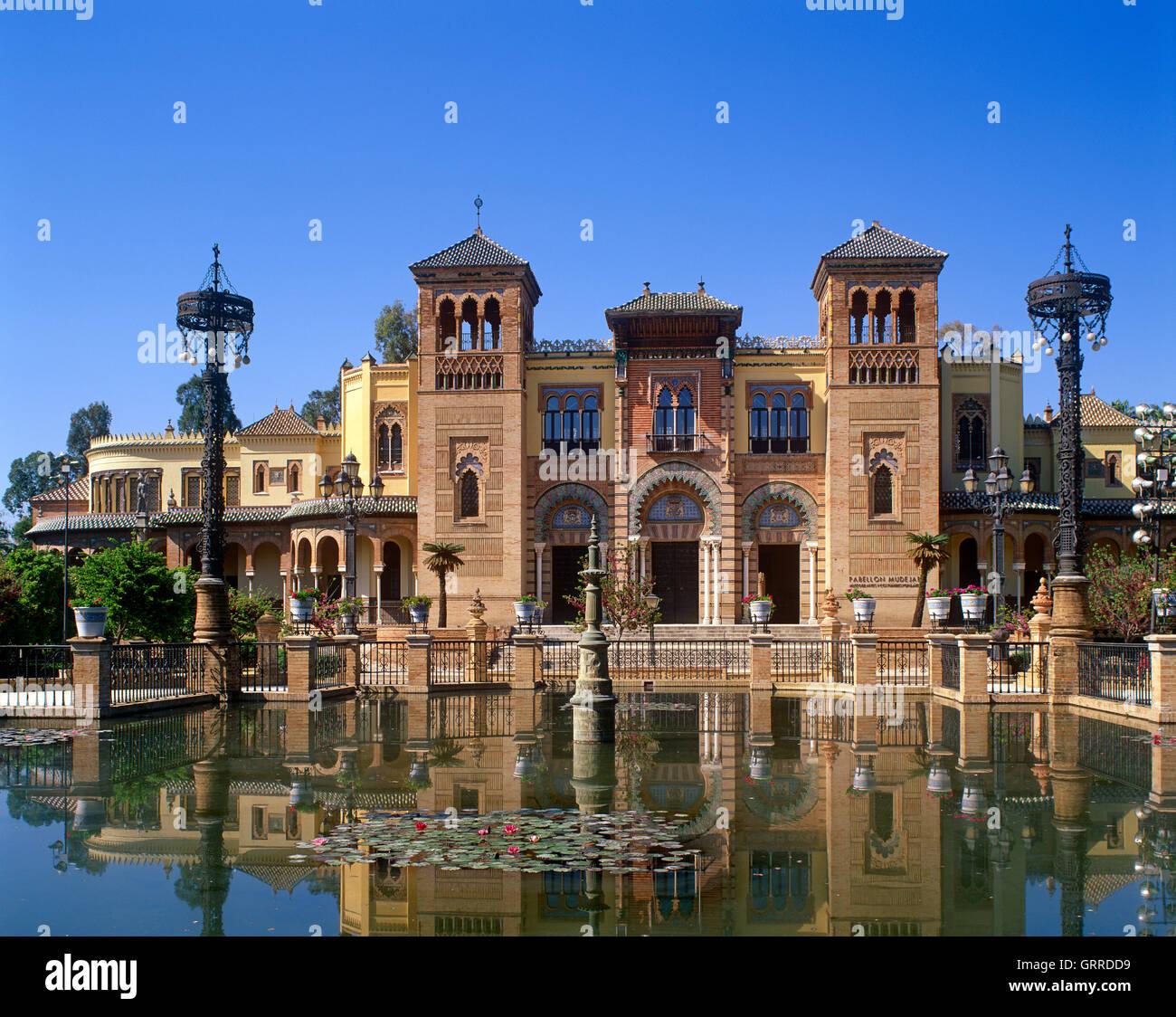 Pabellon Mudejar, Parque Maria Luisa, Seville, Andalucia, Spain - Stock Image