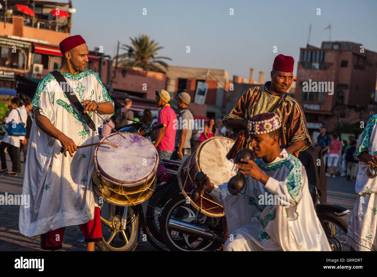 Jamaa el Fna is a square and market place in Marrakesh's medina quarter (old city) used by locals and tourists. Stock Photo