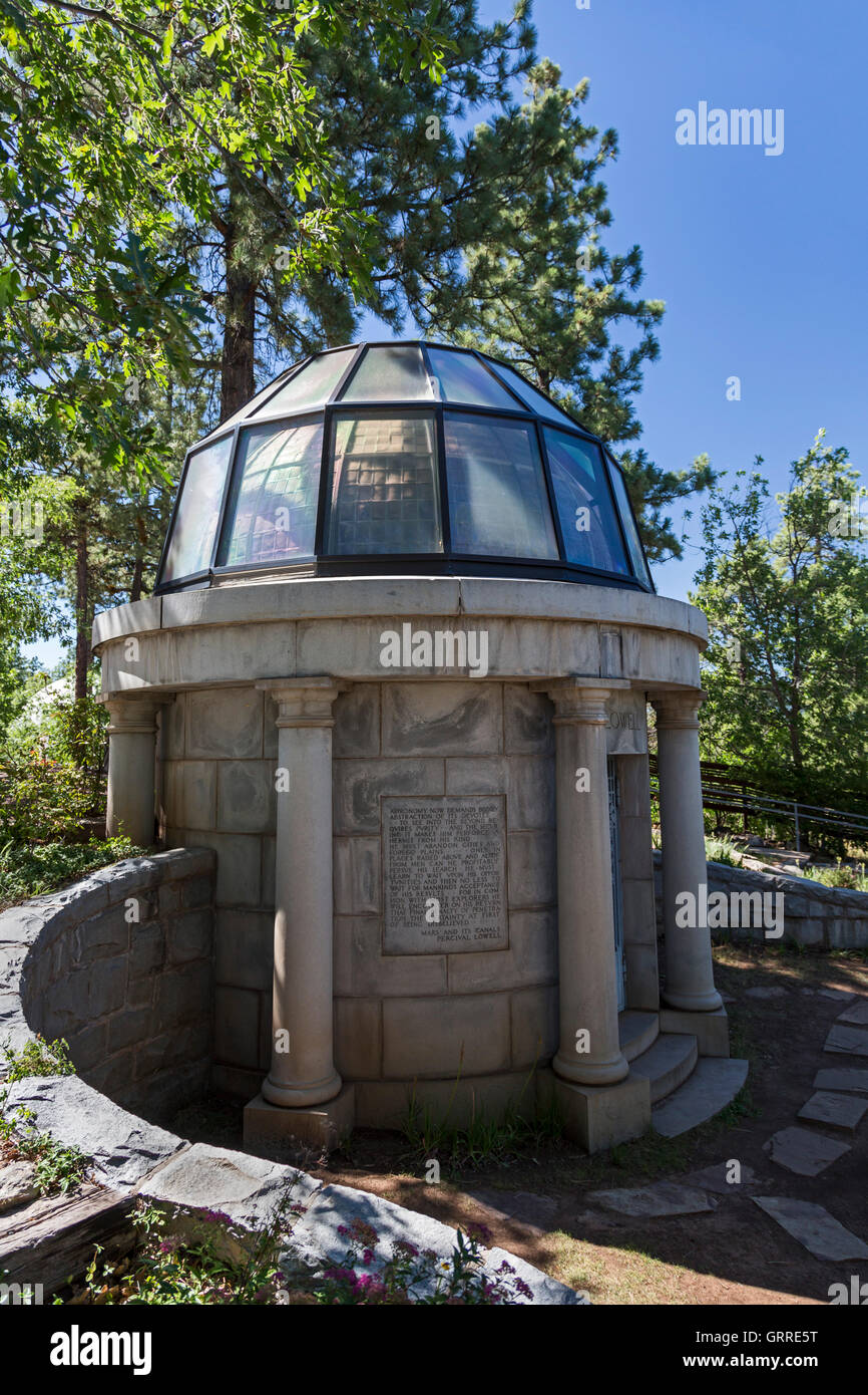 Flagstaff, Arizona - Percival Lowell's Mausoleum at the Lowell Observatory. - Stock Image