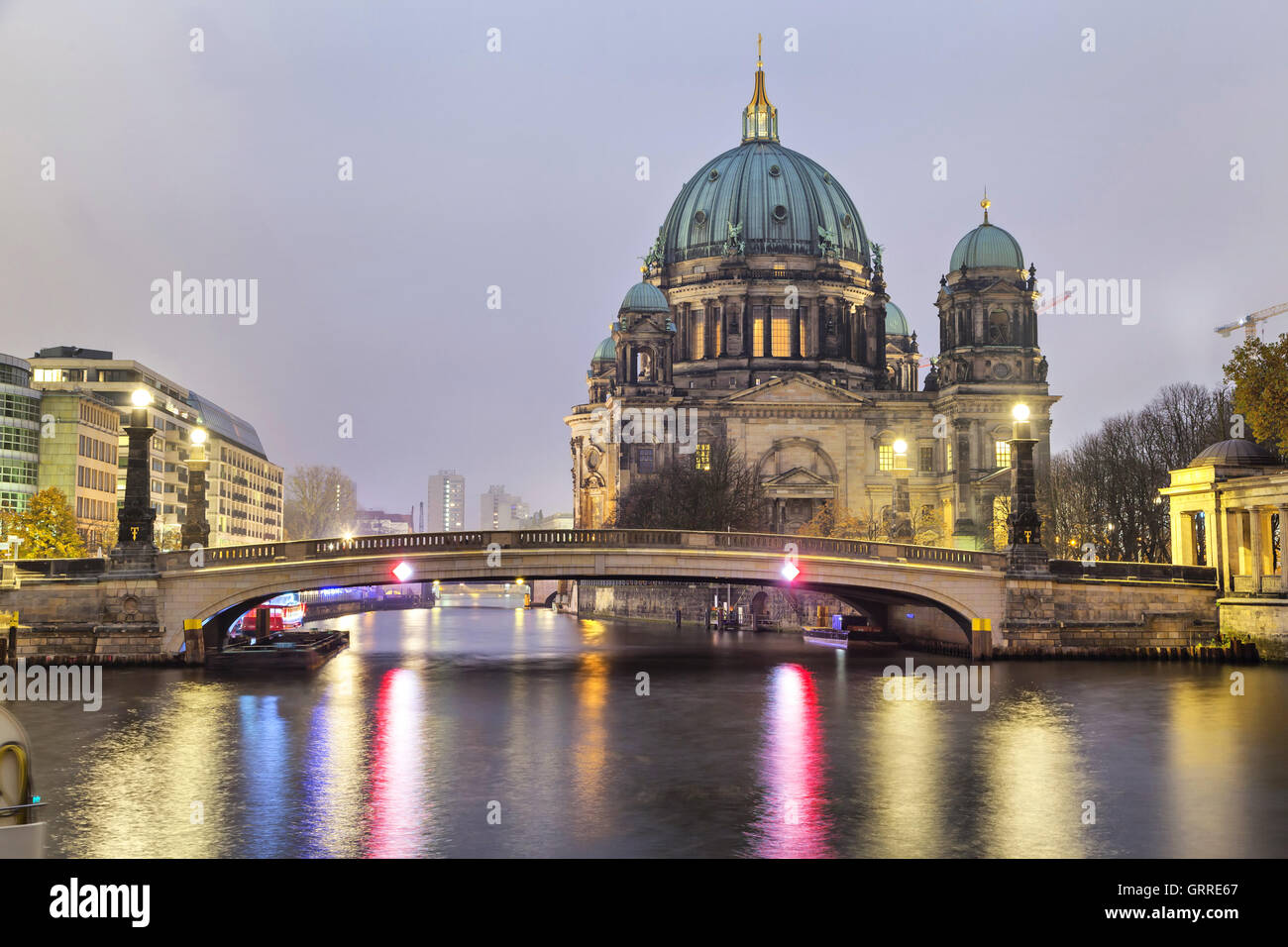 Berlin Cathedral (Berliner Dom) and the bridge across the Spree River, Germany - Stock Image