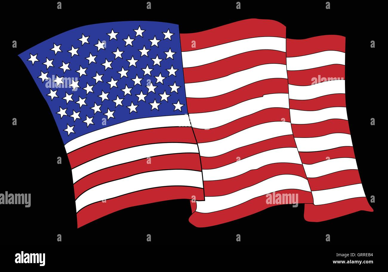 ce672db08c39 A cartoon style waving American flag on black Stock Vector Art ...