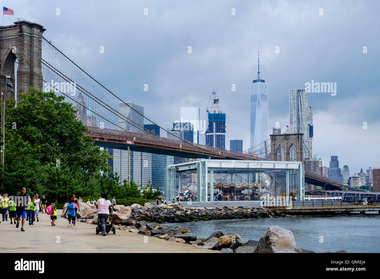 Jane's Carousel at  Empire - Fulton Ferry State Park on the East River - Stock Image