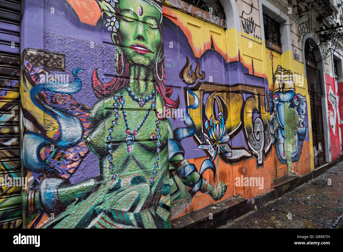 Graffiti art on a wall in the lapa neighborhood in rio de janeiro brazil since 2009 street art in brazil is legal if done with the consent of the building