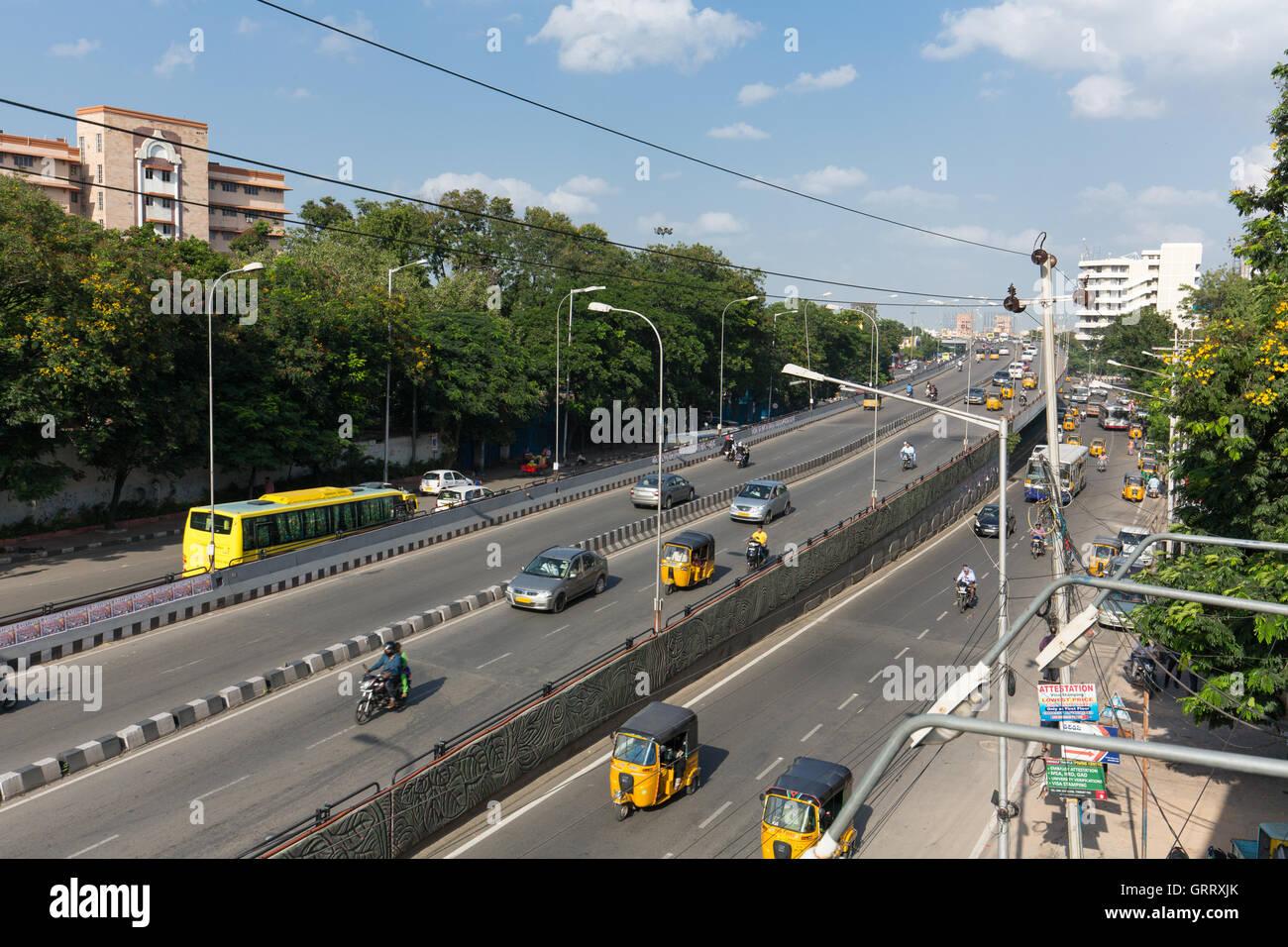 Telangana Secretariat at Telugu Talli Flyover - Stock Image