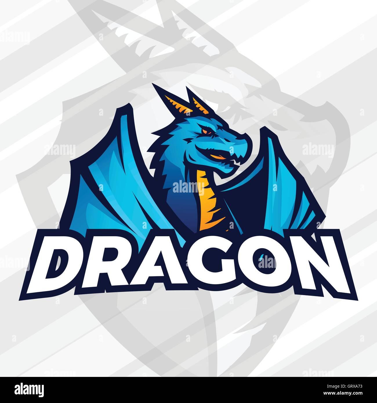 dragon logo concept sport mascot design asian beast sign