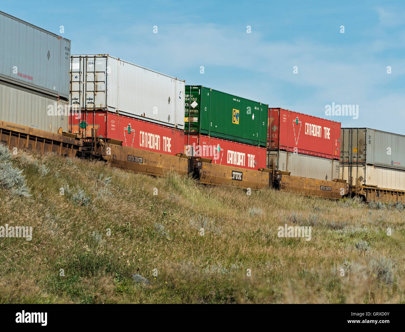 Intermodal containers on a Canadian Pacific Railway freight train, Medicine Hat, Alberta, Canada. - Stock Image