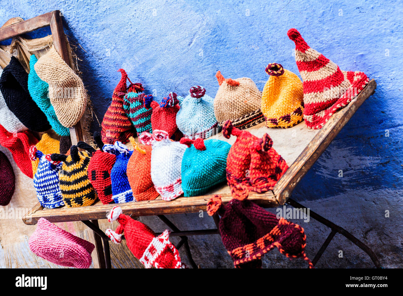 Colorful funny hats for sale in a flea market Stock Photo  118023336 ... 54a82522939