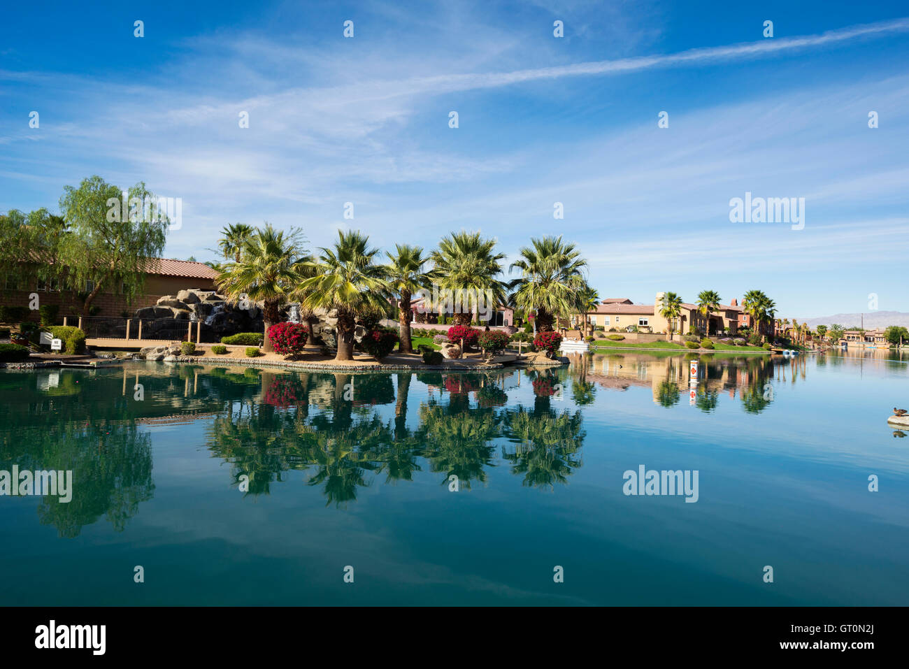 Sunny desert home lifestyle in gated community in Rancho MIrage, California Coachella Valley - Stock Image