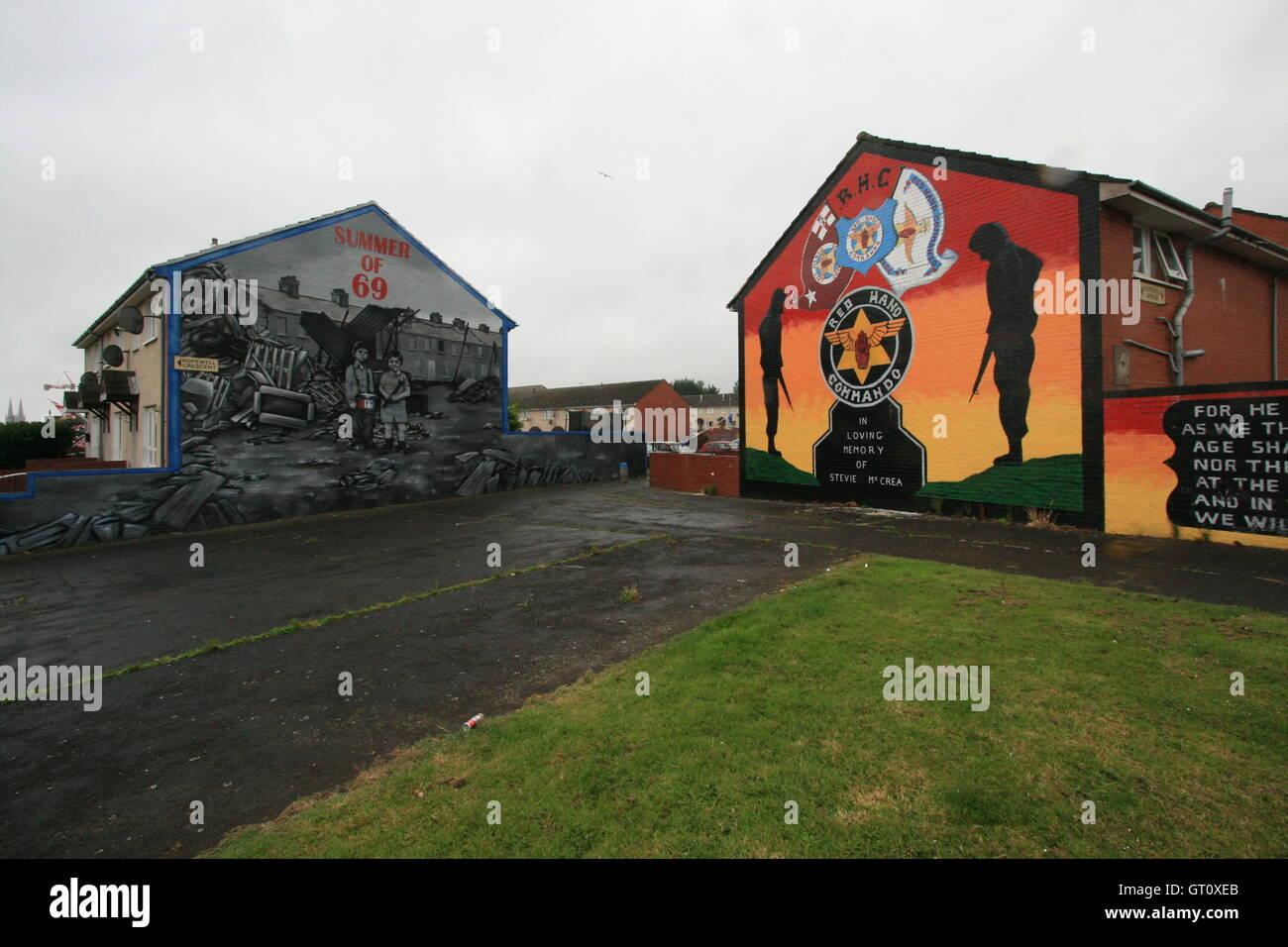Unionist political murals on Shankill Road, Belfast, Northern Ireland, UK. - Stock Image