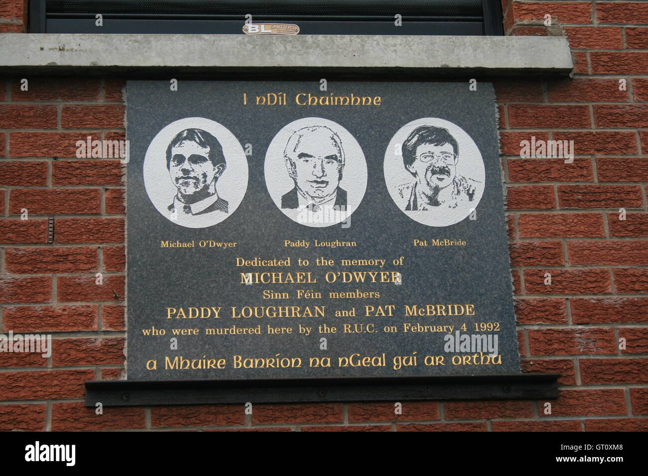 Memorial plaque to Michael O'dwyer, Paddy Loughran and Pat Mc'Bride, Belfast, Northern Ireland, UK. - Stock Image