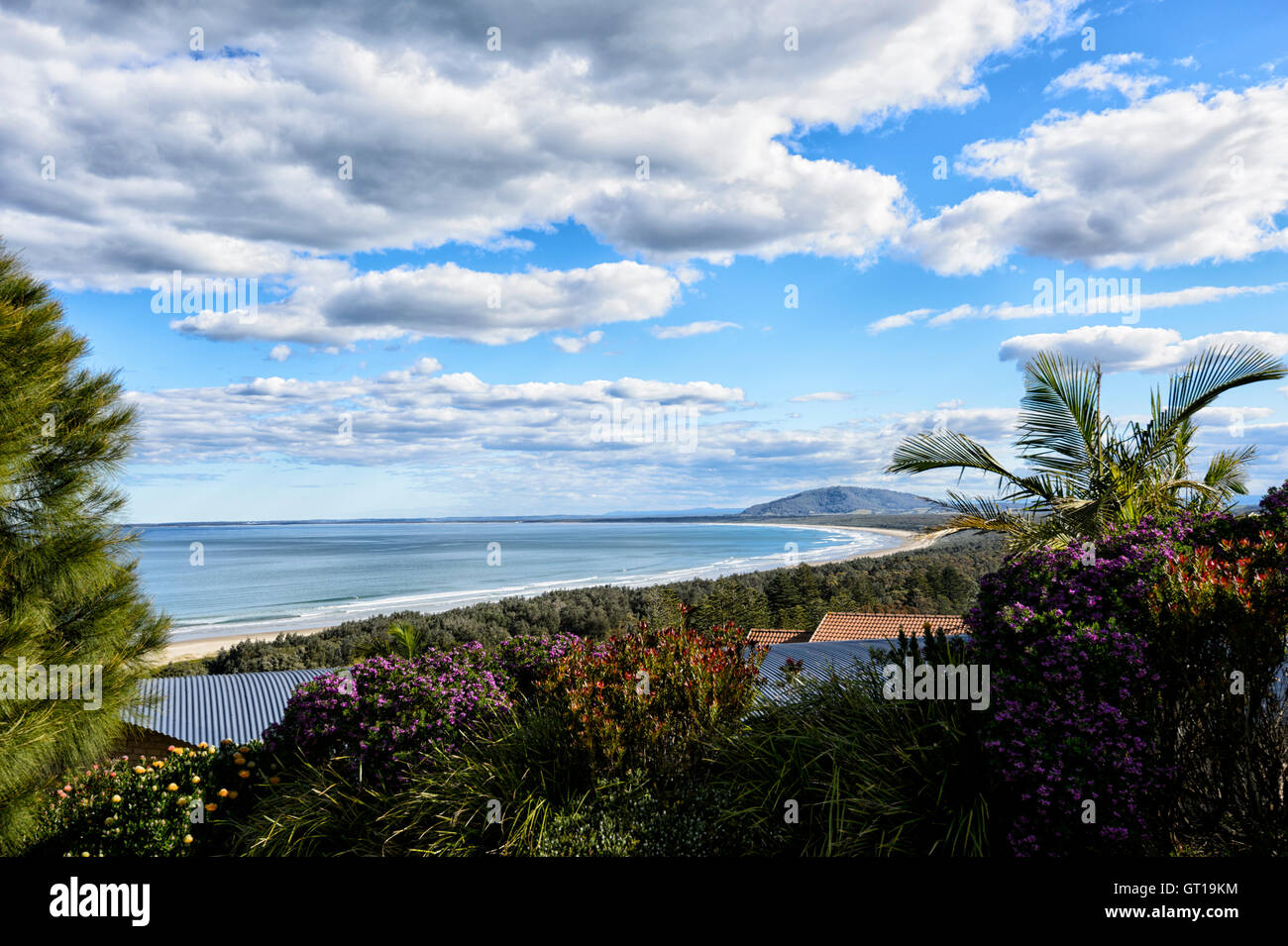 View of Seven Mile Beach from Sir Charles Kingsford Smith lookout, Gerroa, Shoalhaven area, New South Wales, NSW, - Stock Image